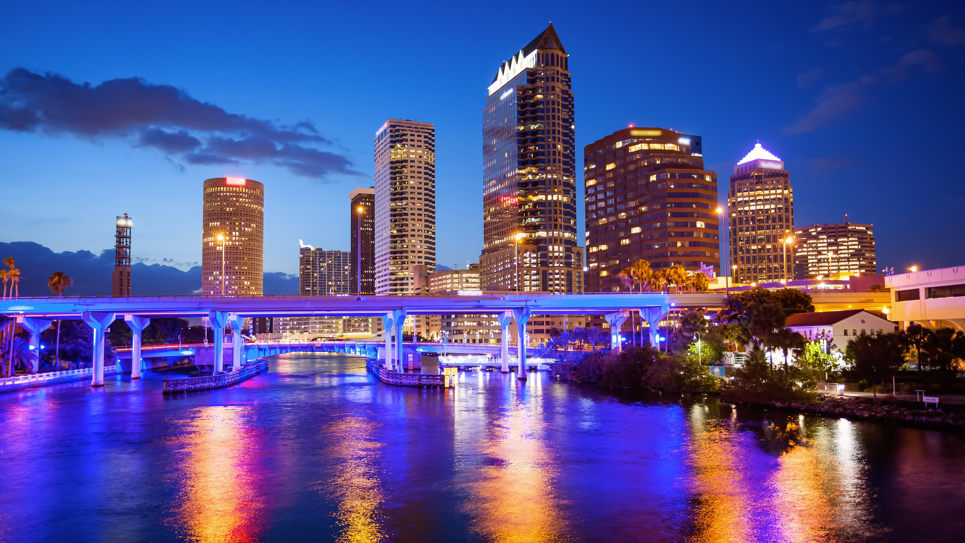 Downtown Tampa, Florida City Skyline at Night - Cityscape (logos blurred)