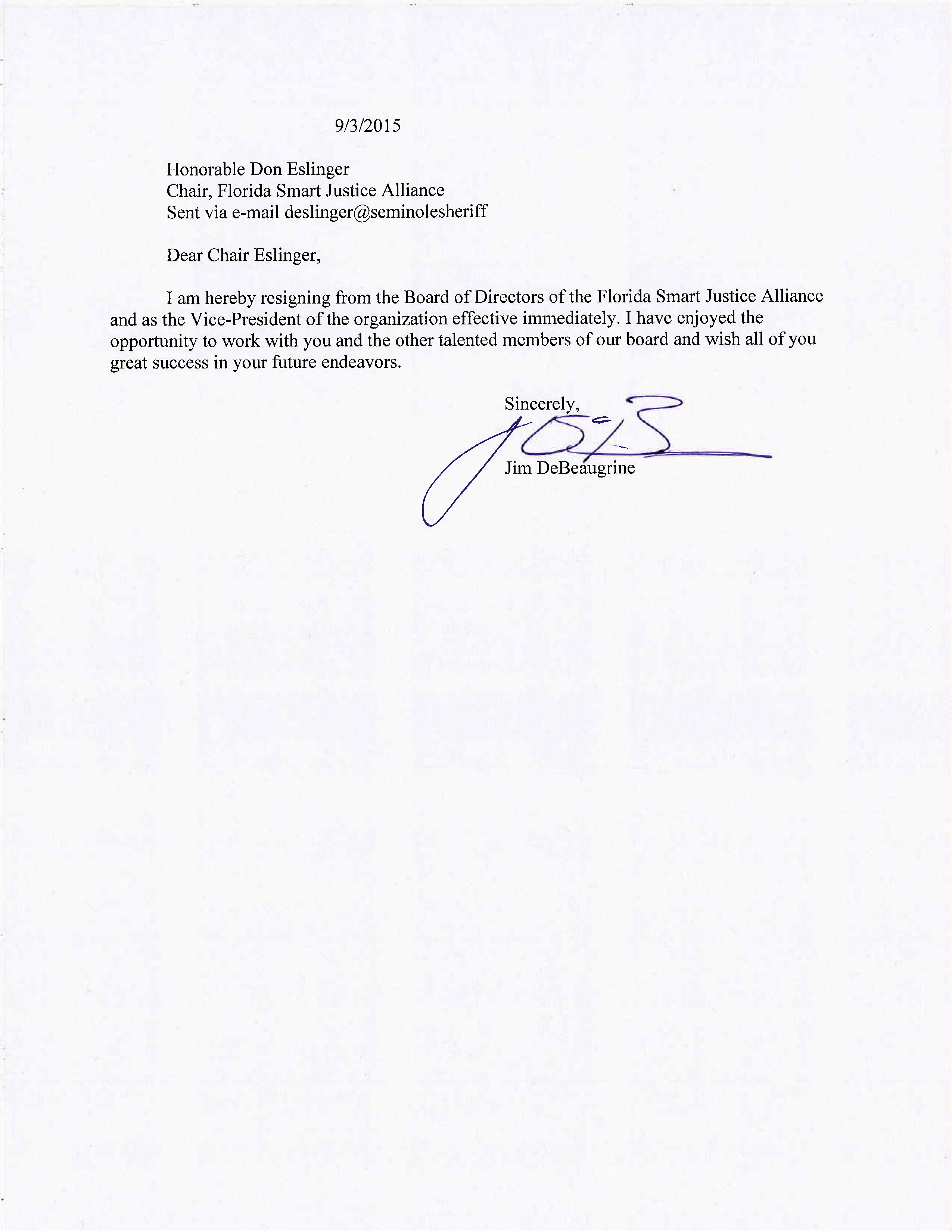 DeBeaugrine Resignation from Board of Directors of the Florida Smart Jus