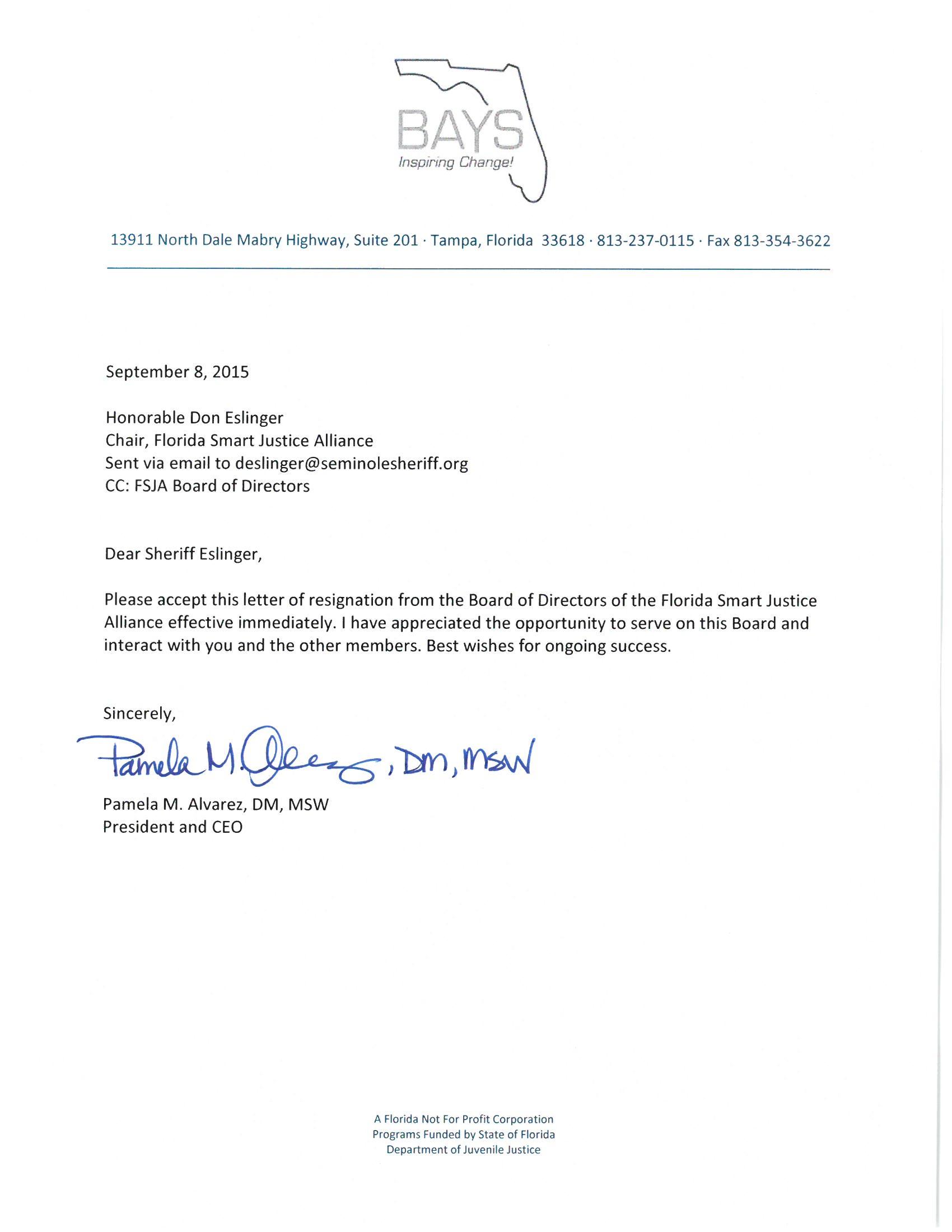 FSJA Letter of Resignation 9.8.15