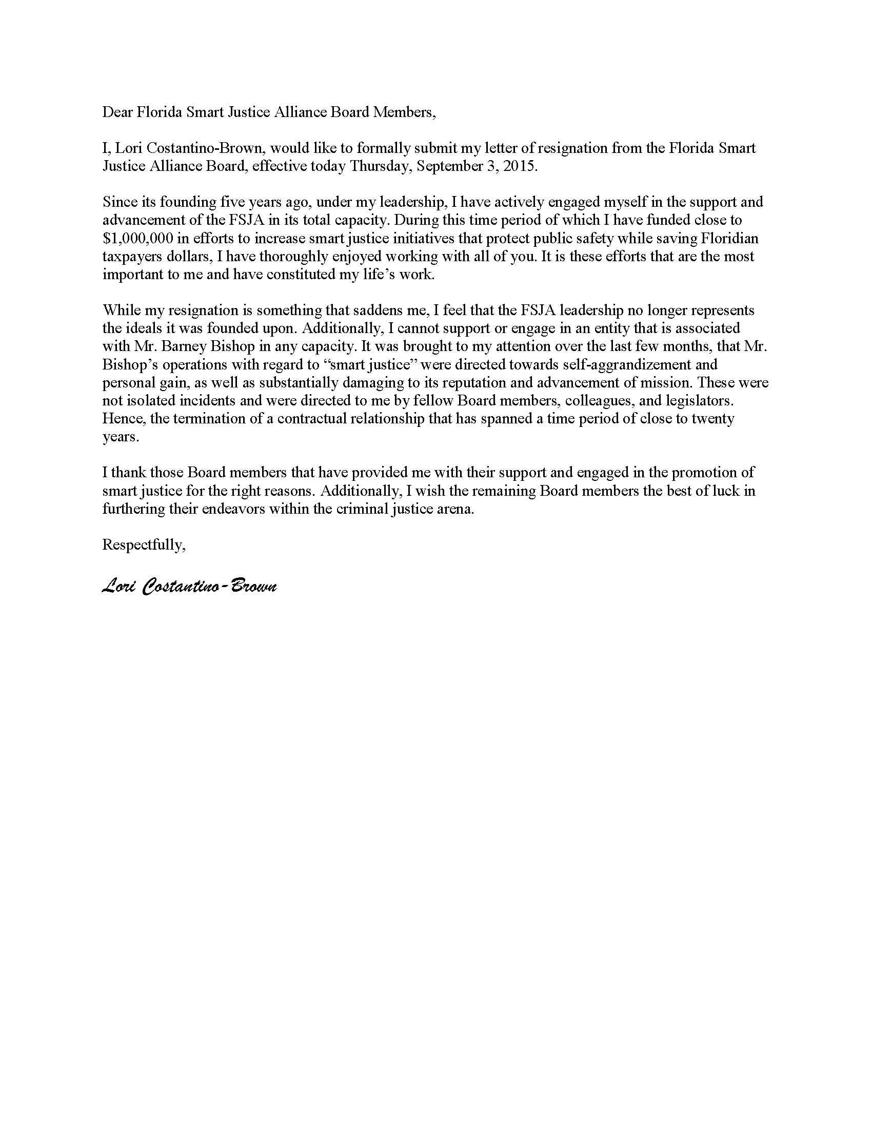 LCB Resignation letter from FSJA