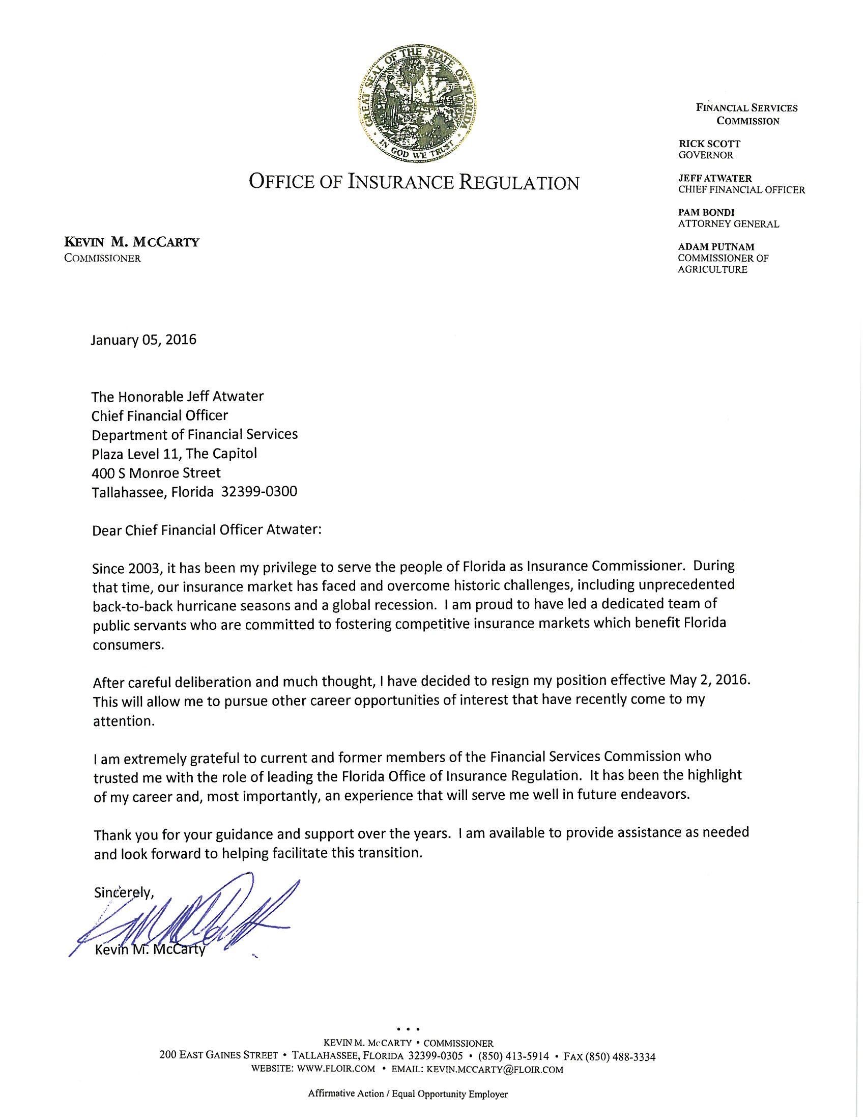 McCarty resignation letter