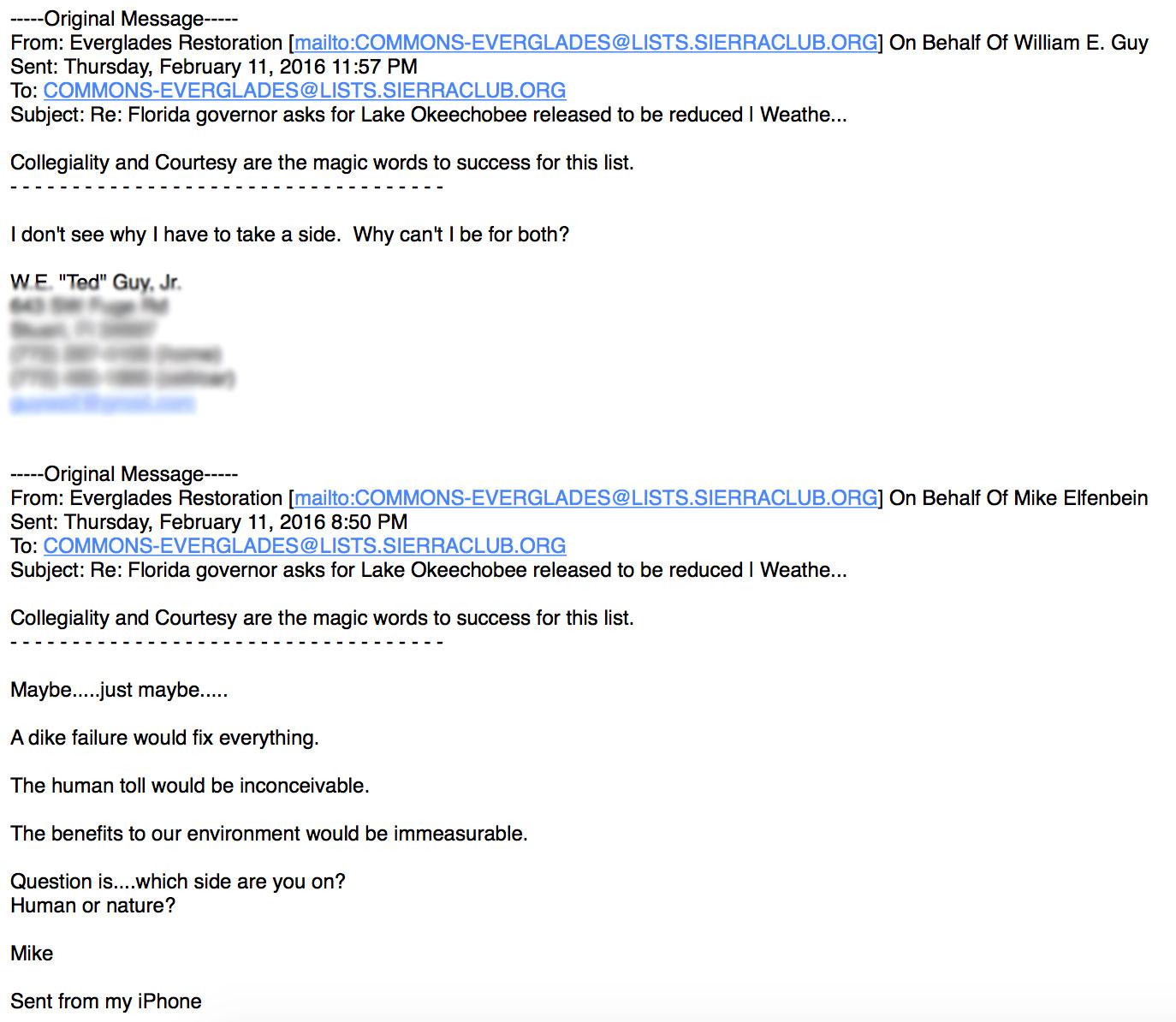 environmental email exchange