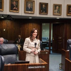 Sen. Lizbeth Benacquisto on the floor of the Florida Senate. Courtesy of Florida Senate.