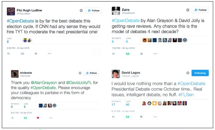A sampling of Twitter reviews of Monday's Florida Open Debate, as tracked by the U.S. Senate campaign of U.S. Rep. Alan Grayson.