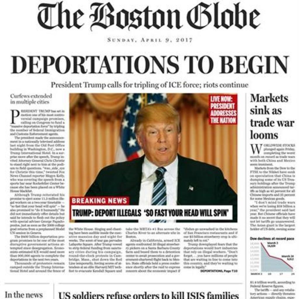 trump, donald - front of boston globe