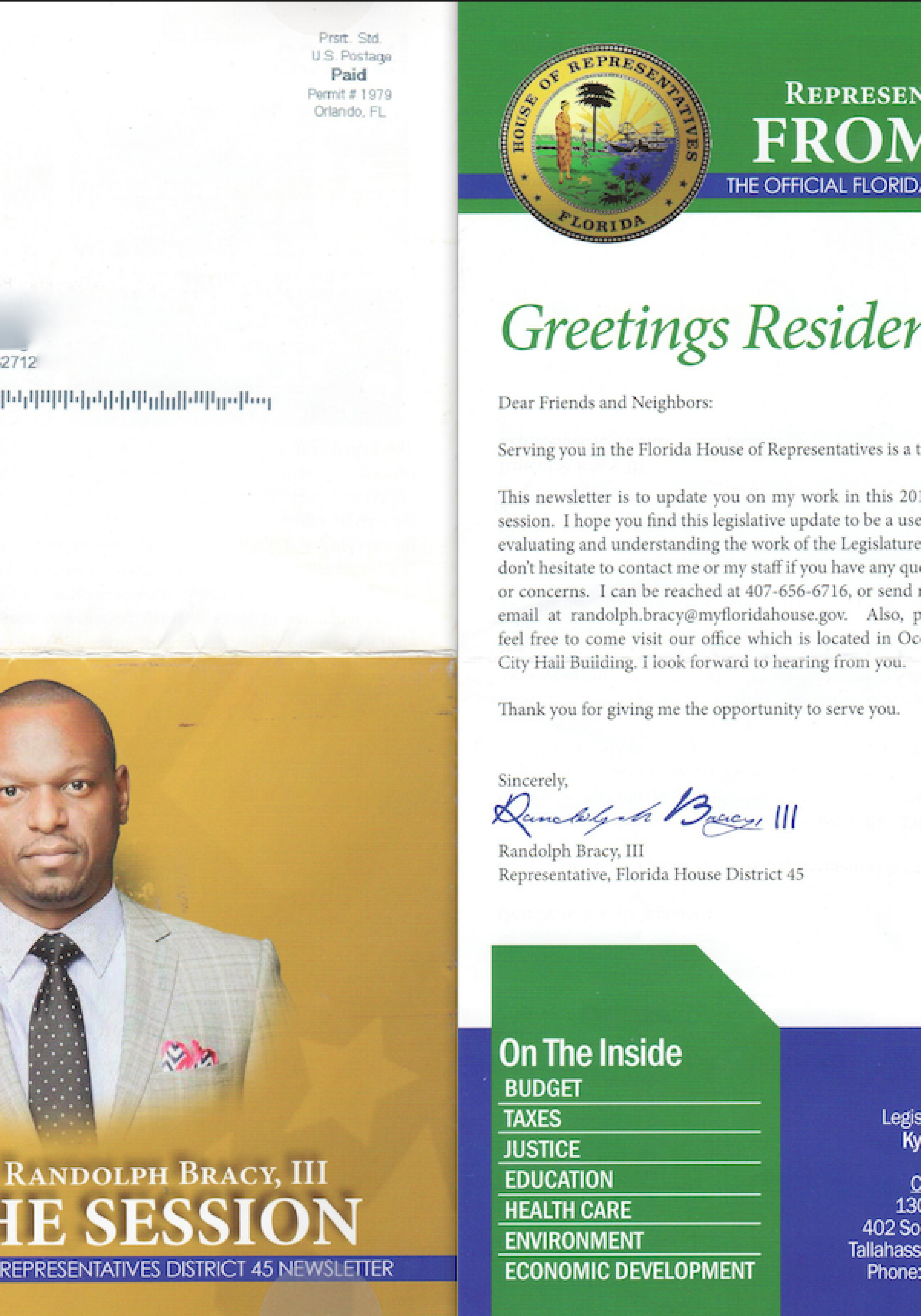 state Rep. Randolph Bracy constituents' newsletter Spring 2016