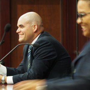 Democrats Alex Barrio and Amy Mercado, in a House District 48 race debate.