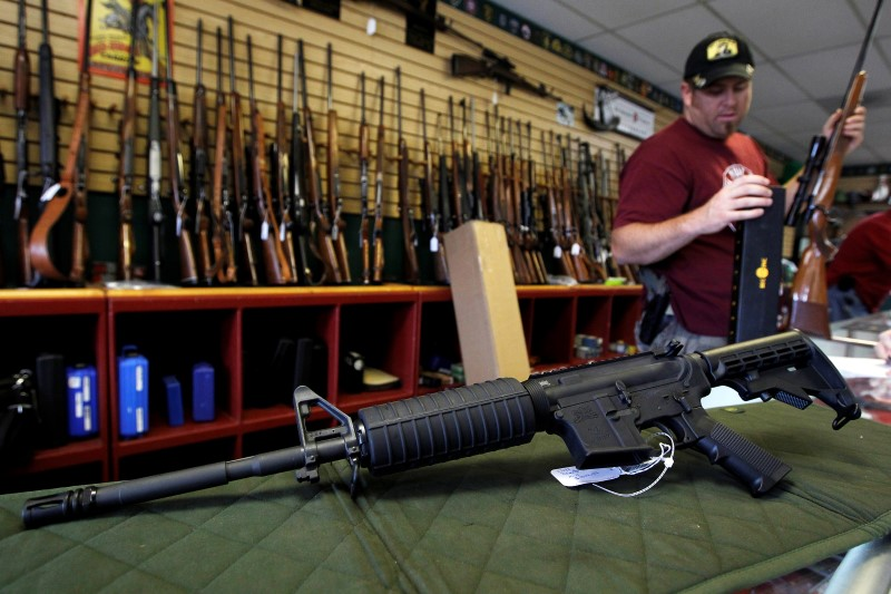 A Palmetto M4 assault rifle is seen at the Rocky Mountain Guns and Ammo store in Parker, Colorado