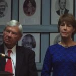Bob Graham and Gwen Graham at the Press Center. Hall of Fame portraits can be seen in the background. (Photo: Amy Datz)