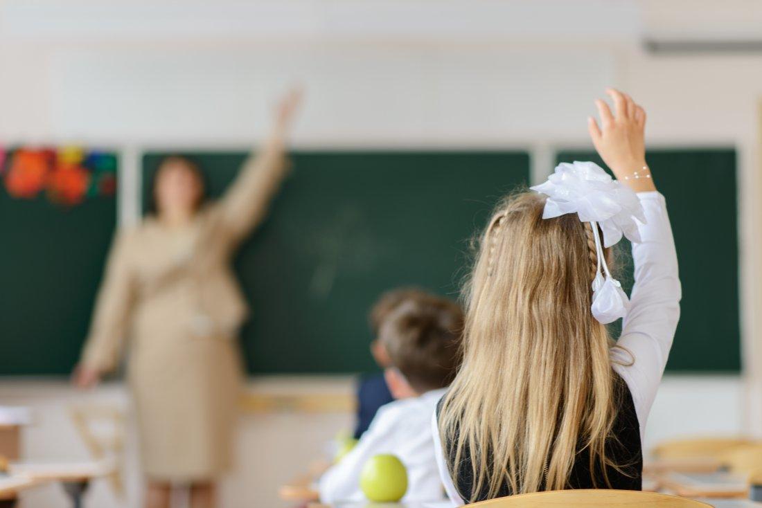 Schoolchild raising hand to answer