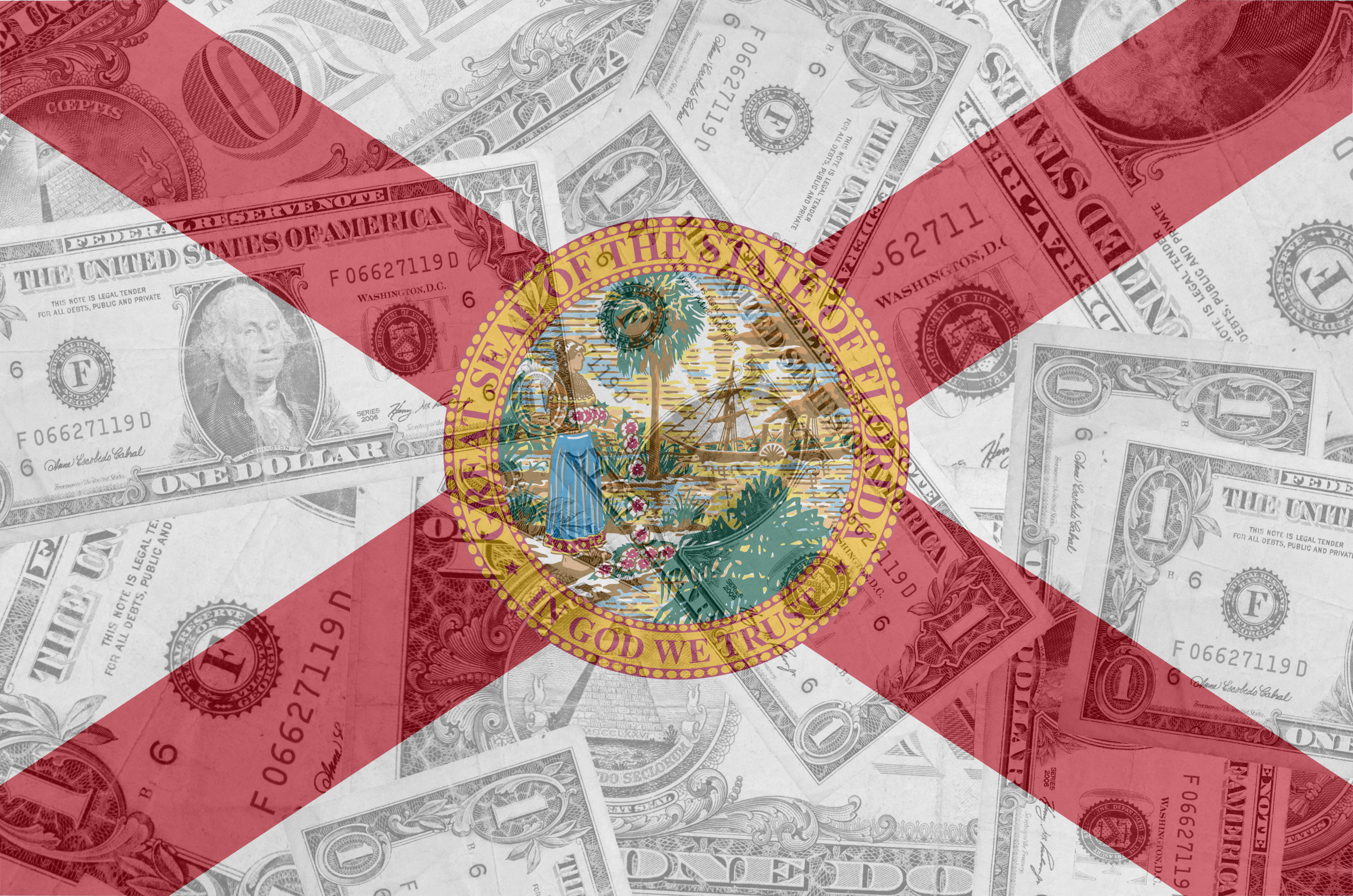 US state of florida flag with transparent dollar banknotes in ba