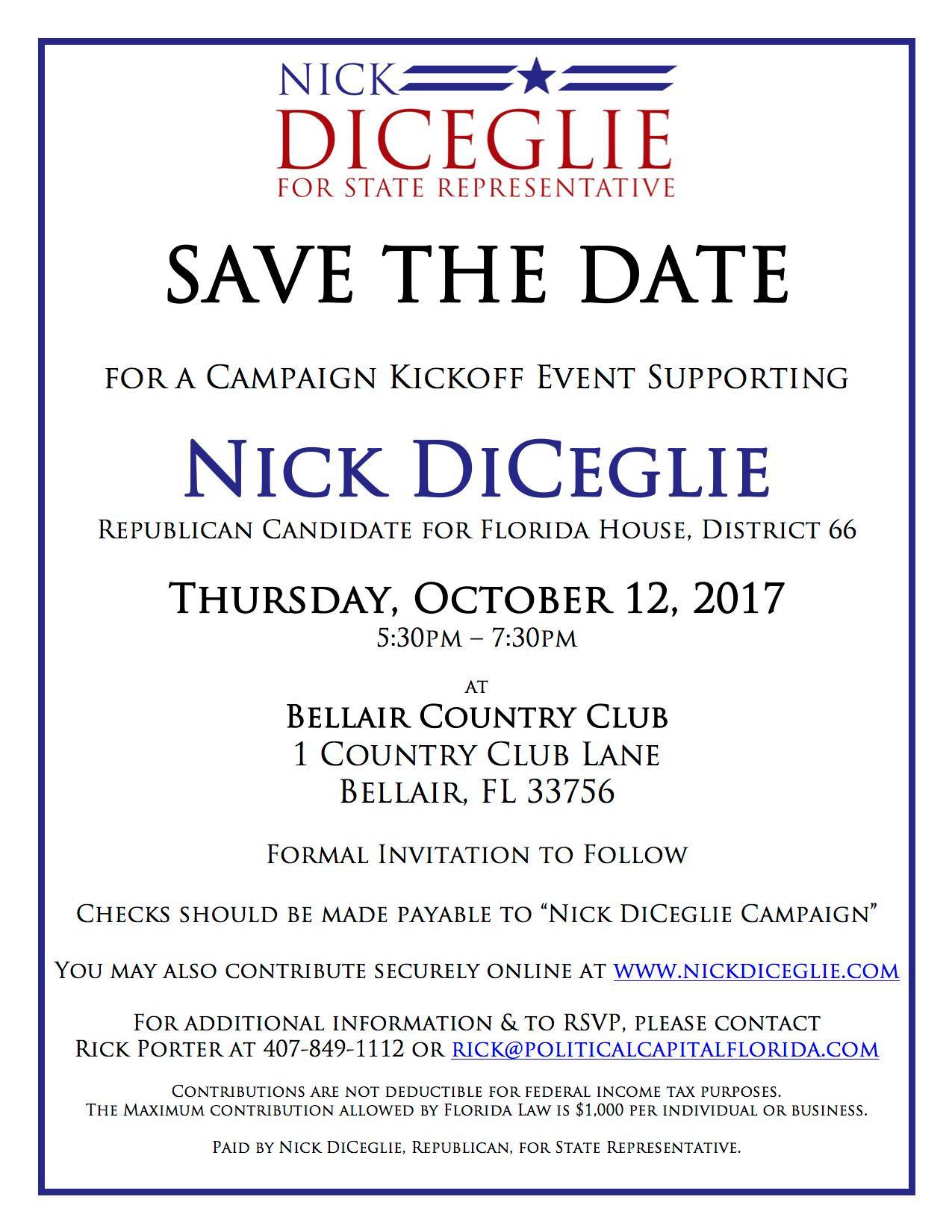 Nick DiCeglie Invitation - Oct. 22 2017