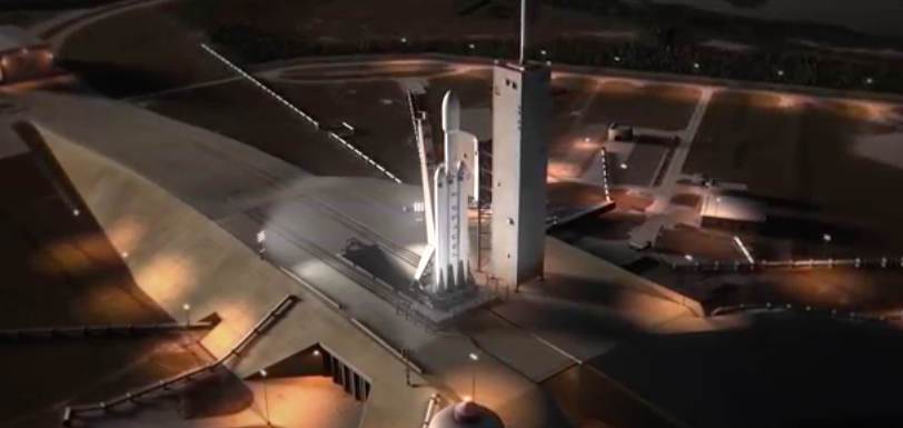 Falcon Heavy rocket at Kennedy Space Center, artist's rendering