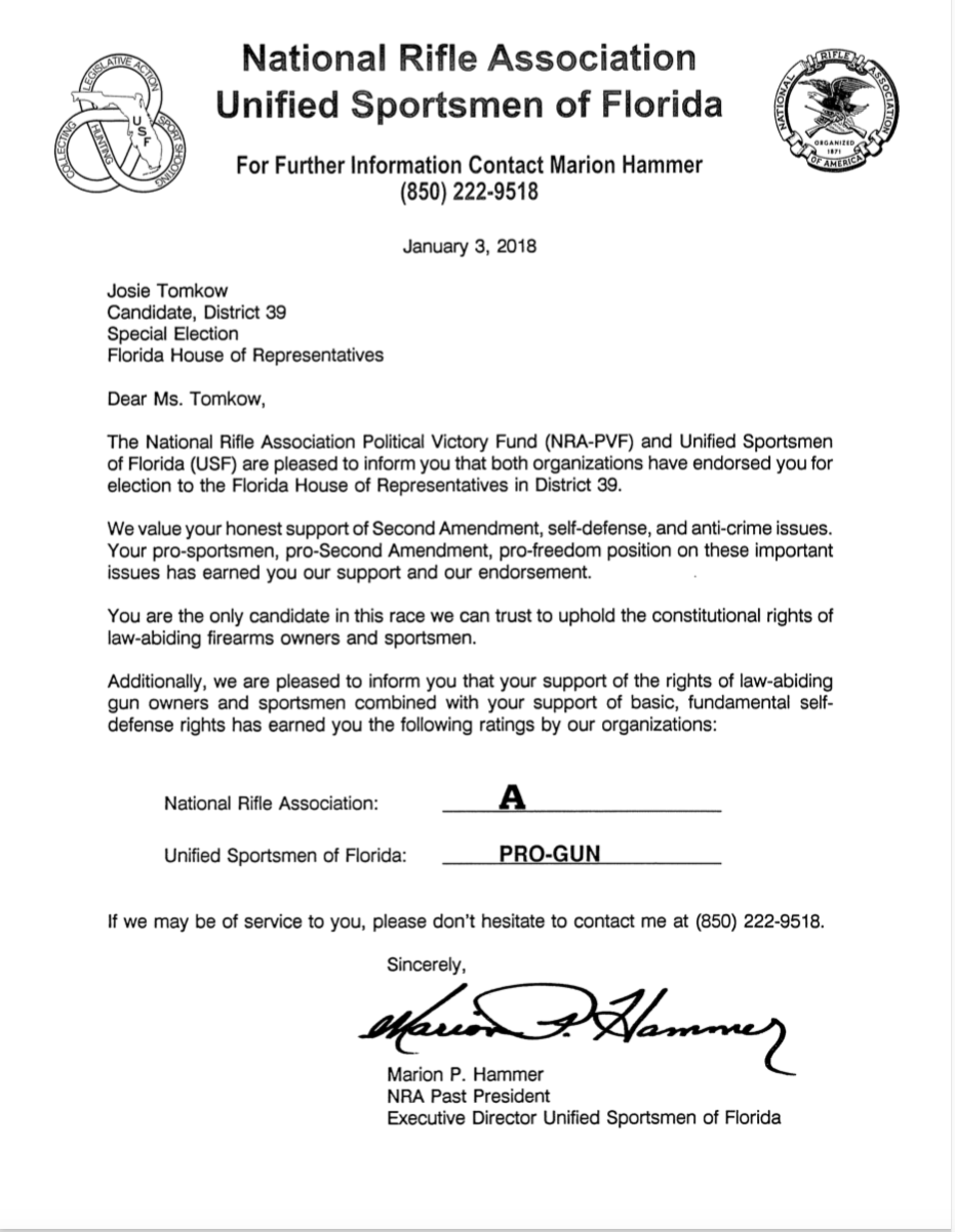 NRA and Unified Sportsmen of Florida endorsement letter