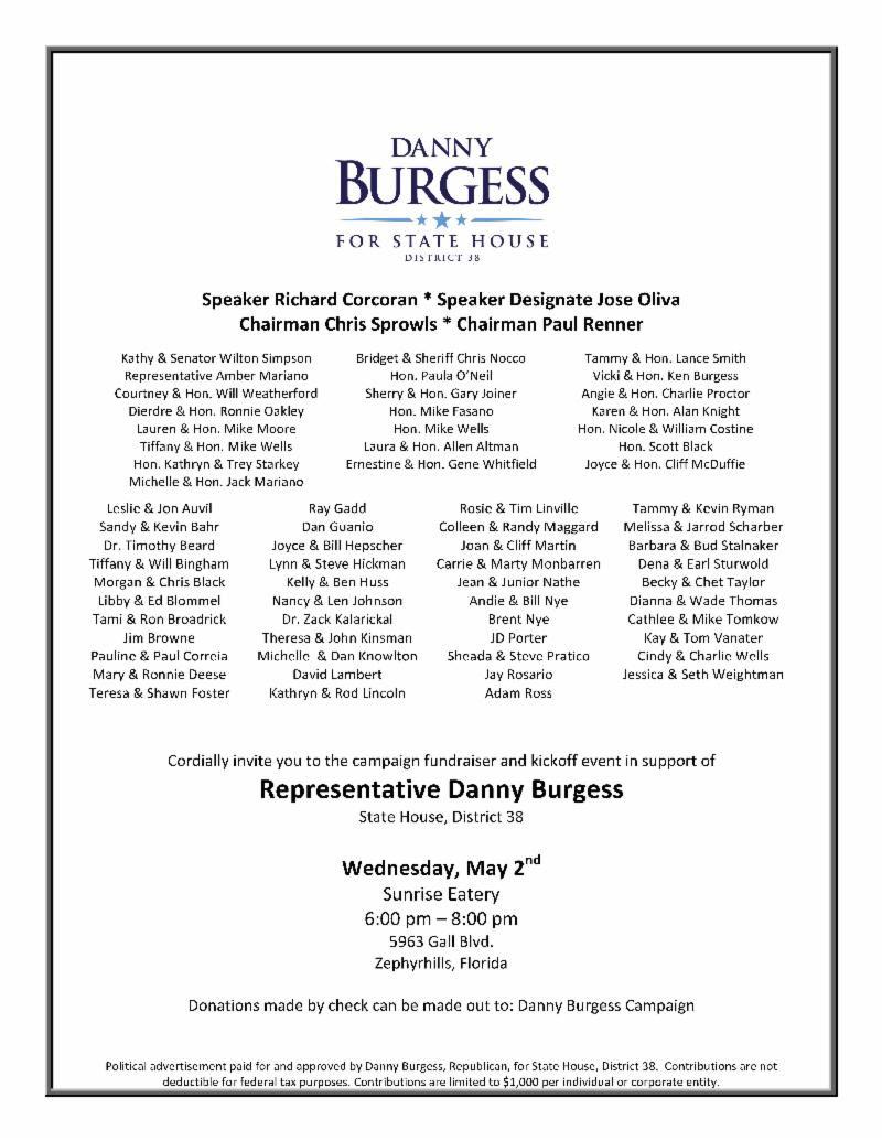 Danny Burgess Fundraiser Invite 5.2.
