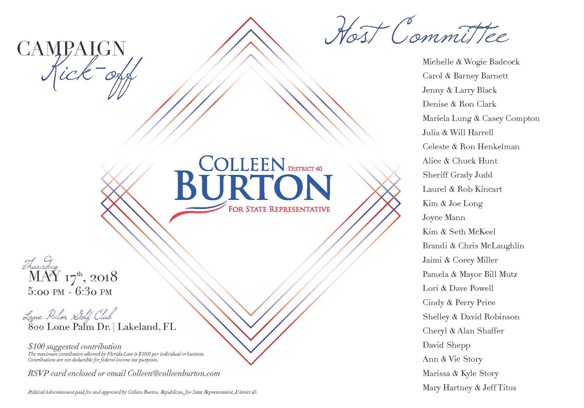 Colleen Burton 2018 Campaign Kick-Off 5.17.2018