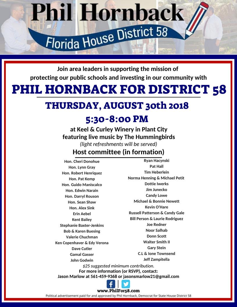 Hornback fundraiser 8.30.2018