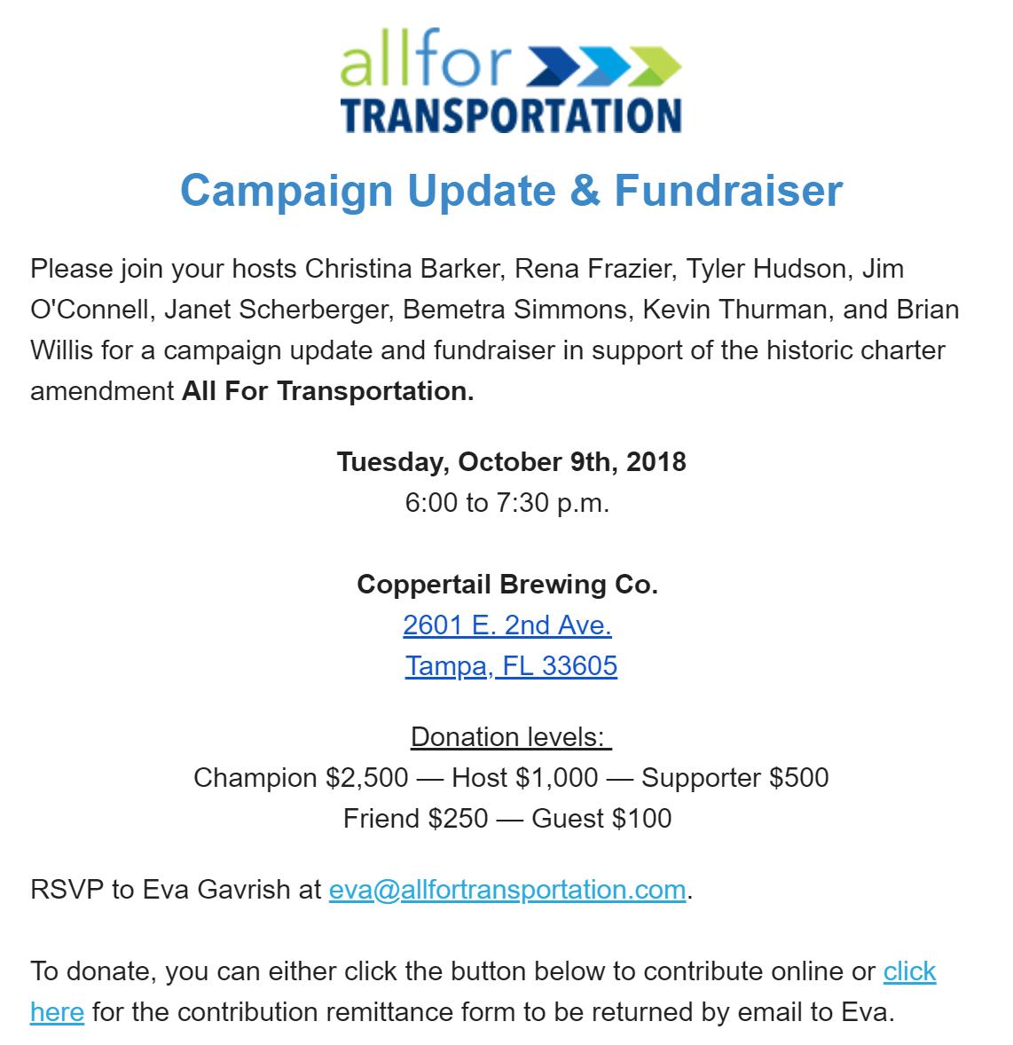 All for Transportation fundraiser - 10.9.2018