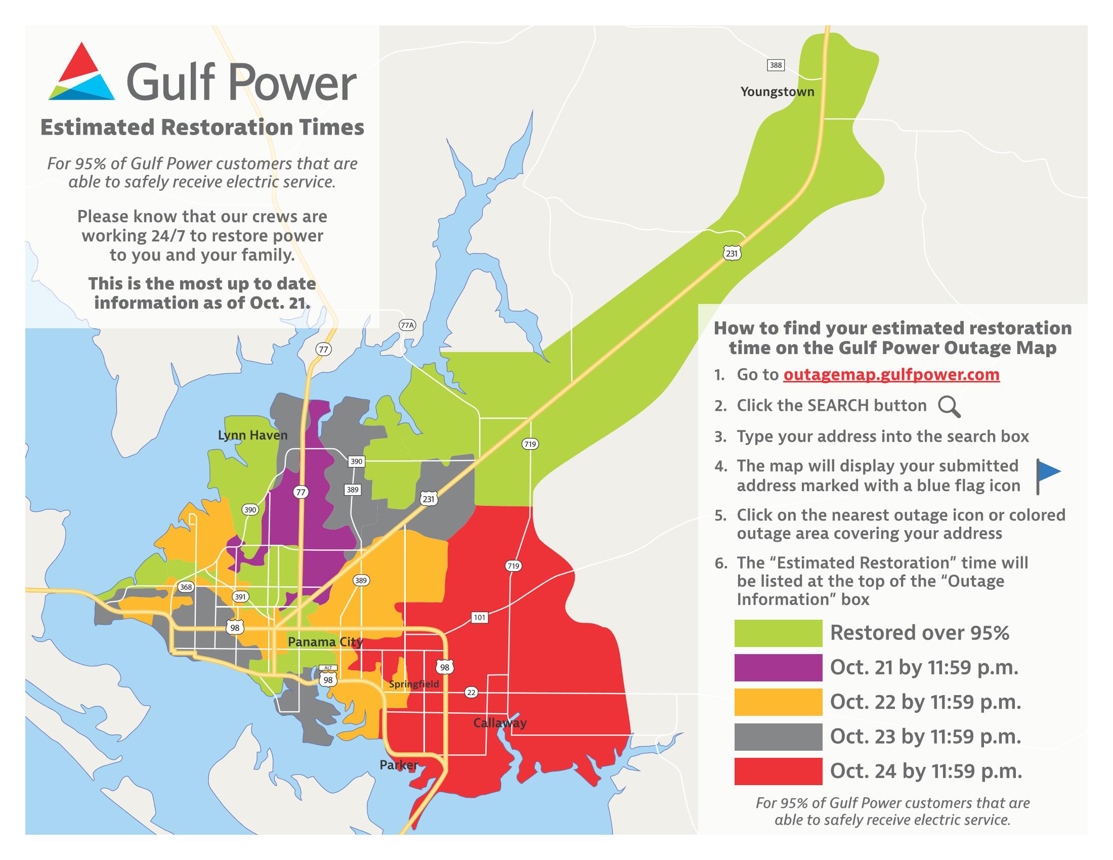 Gulf Power restoration map 10-21-2018