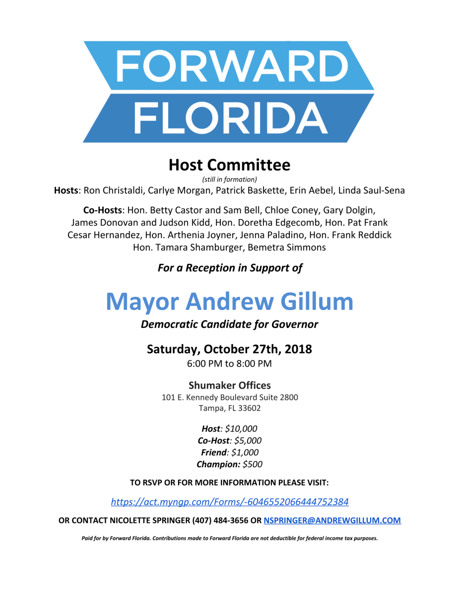 Gillum Fundraiser 10-27-2018