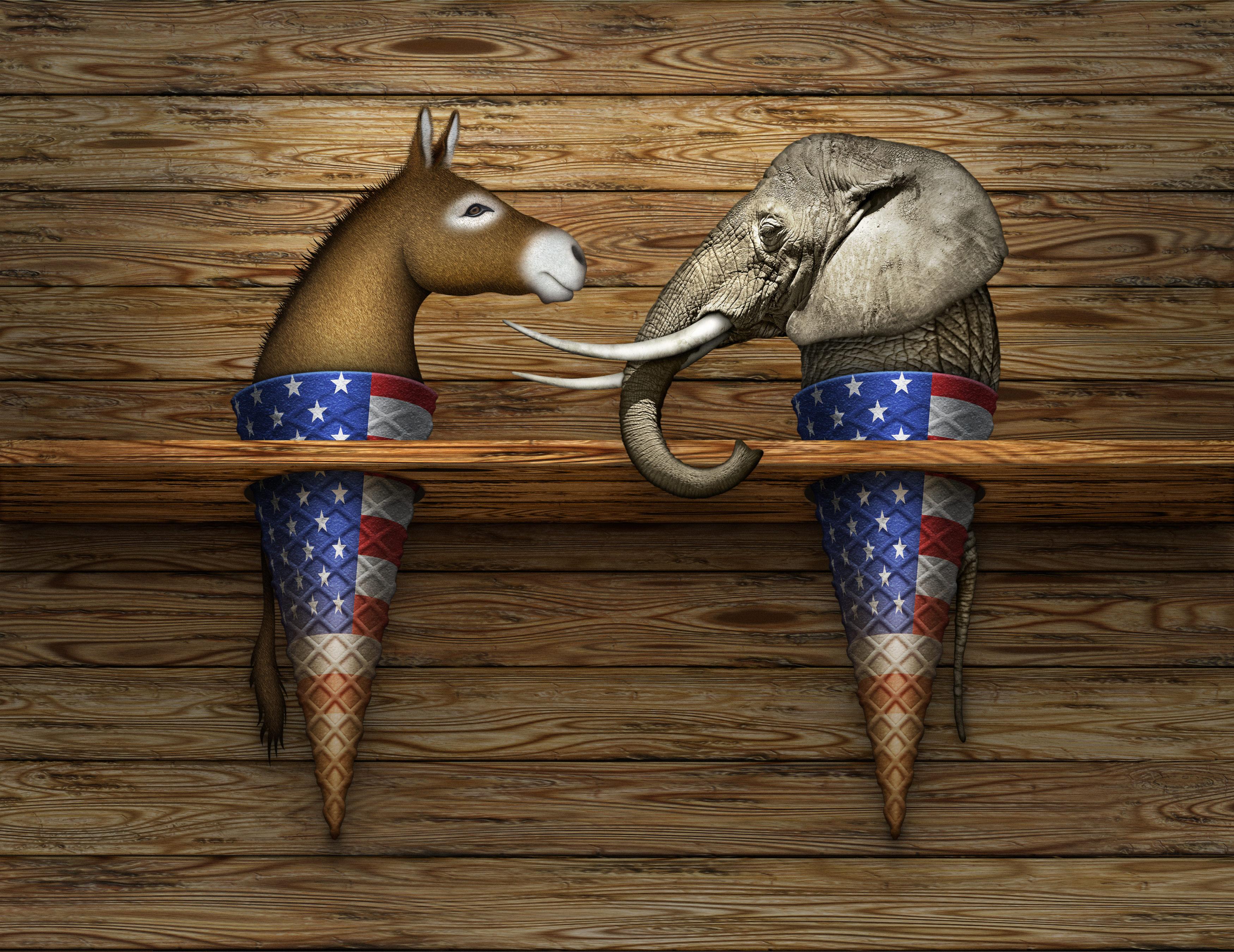 Political Elephant and Donkey Ice Cream Cones