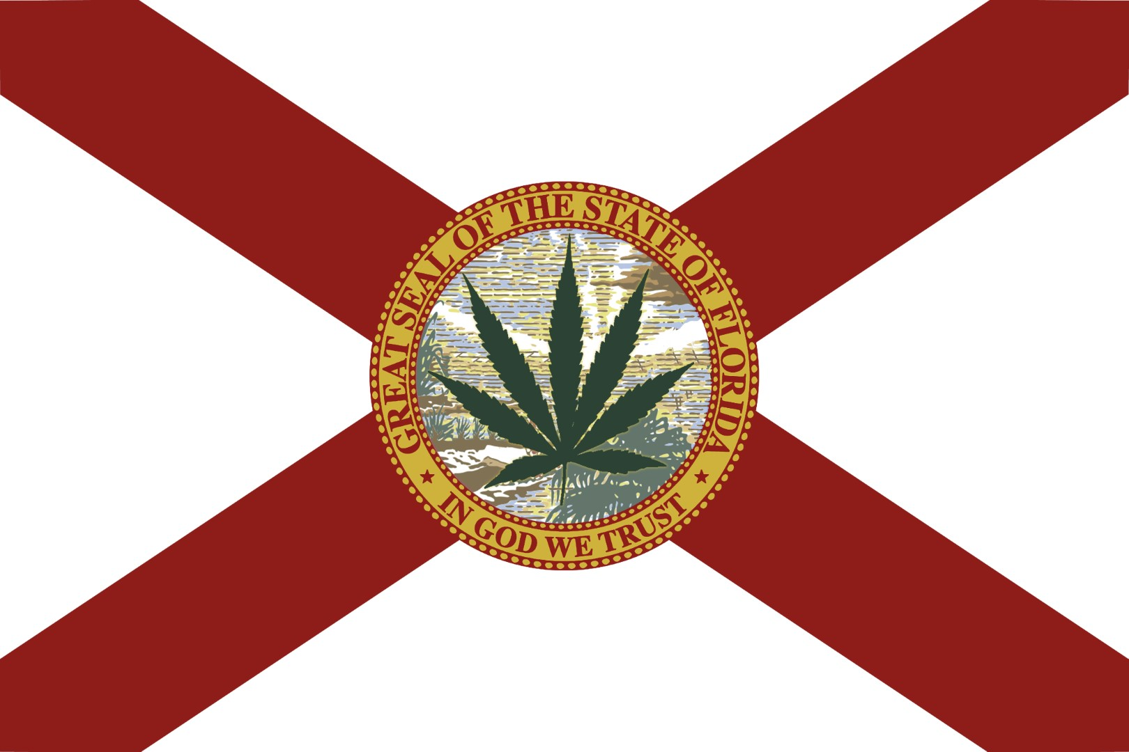 Florida state flag with marijuana leaf