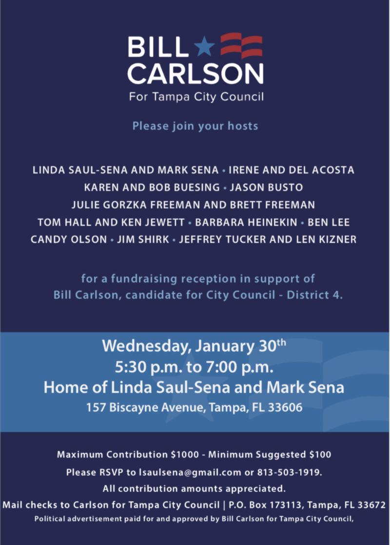 Bill Carlson Fundraiser Invitation