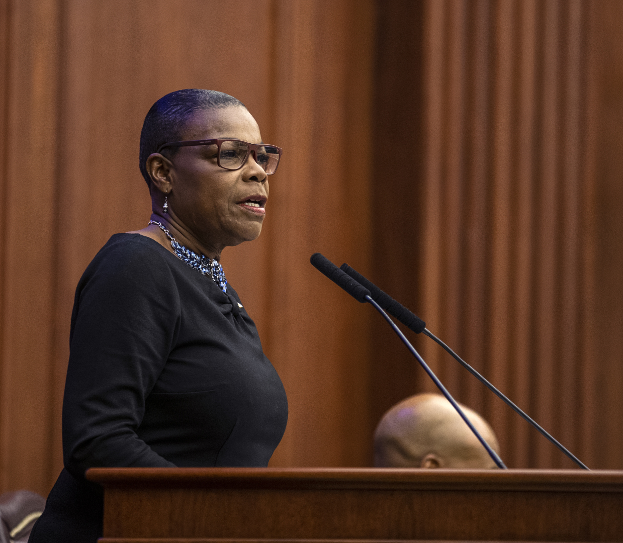 Sen. Audrey Gibson was not sold on the new Governor's speech.