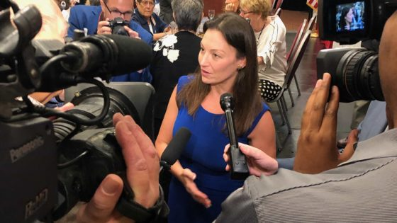 Agriculture Commissioner Nikki Fried responds to media questions after her appearance before the Capital City Tiger Bay Club.