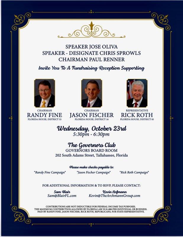 Fine, Fischer, Roth fundraiser invitation