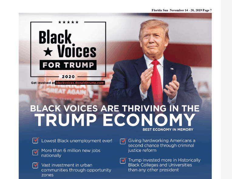 Donald Trump ad in Florida Sun