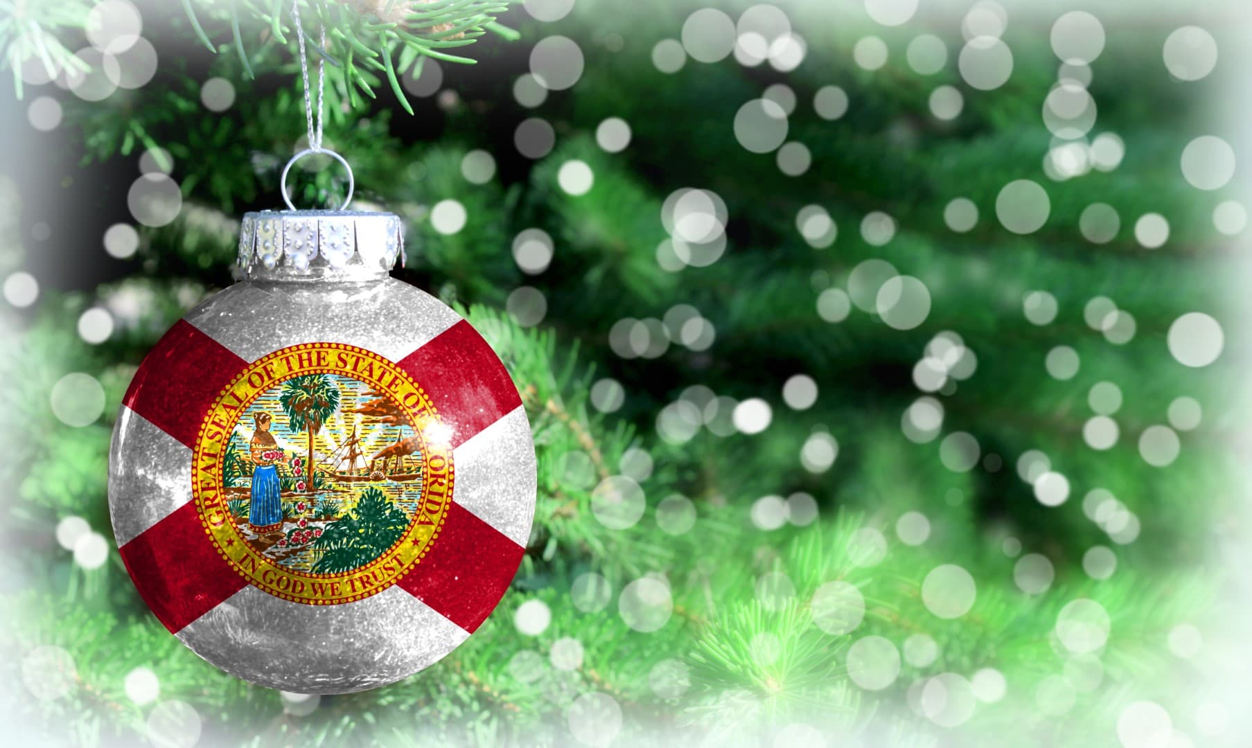 Christmas and New Year background with a flag State of Florida