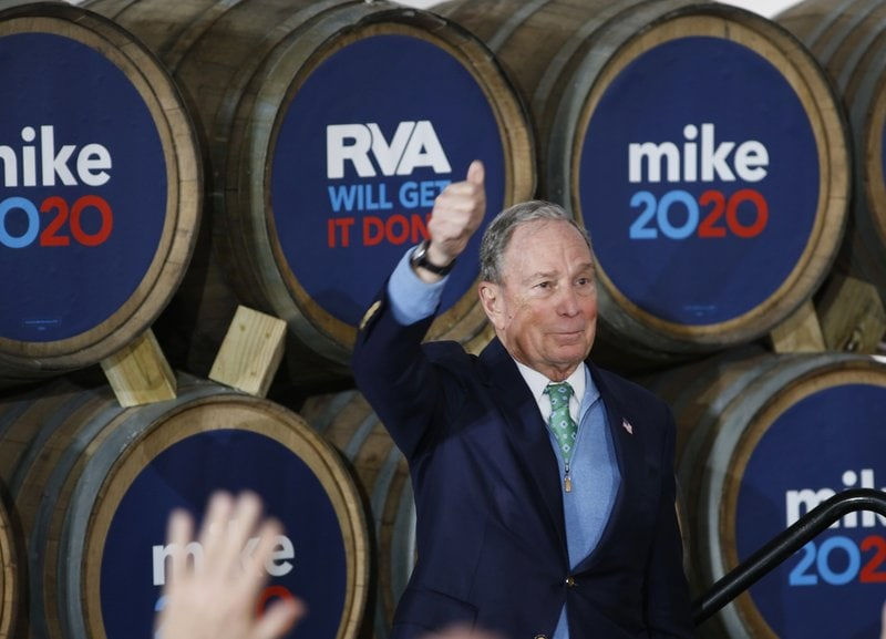 bloomberg, mike - in front of barrels