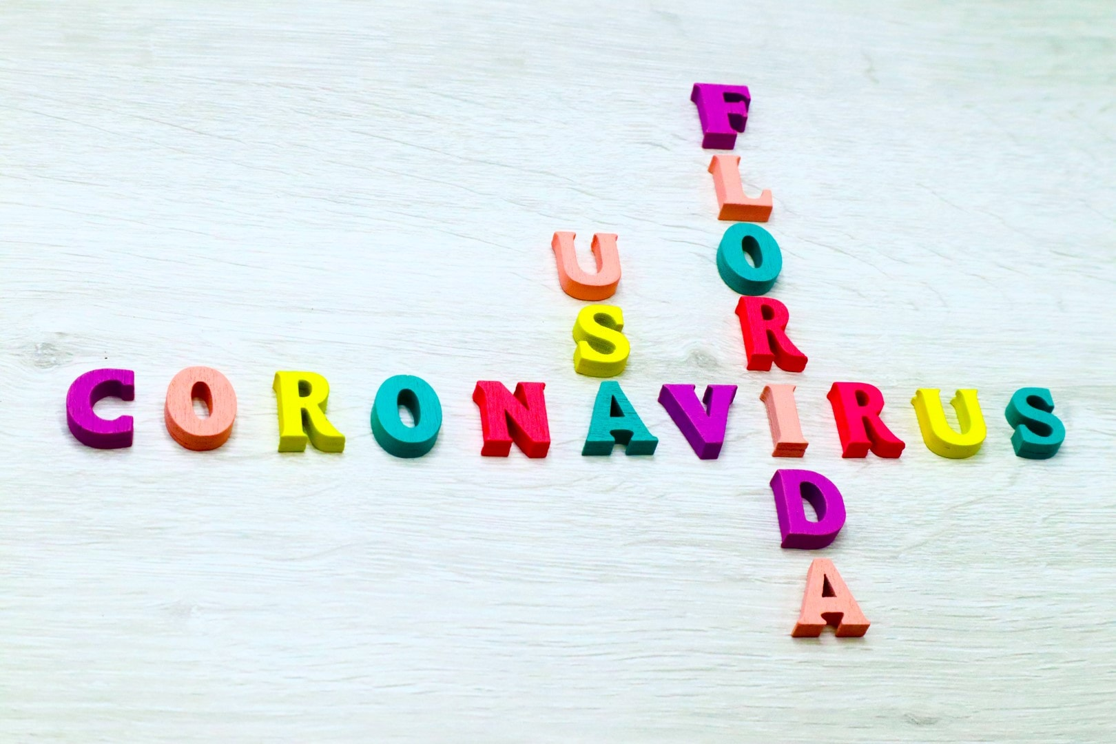 Coronavirus COVID-19 in FLORIDA, USA - Rainbow colored wood letters on grey wooden background