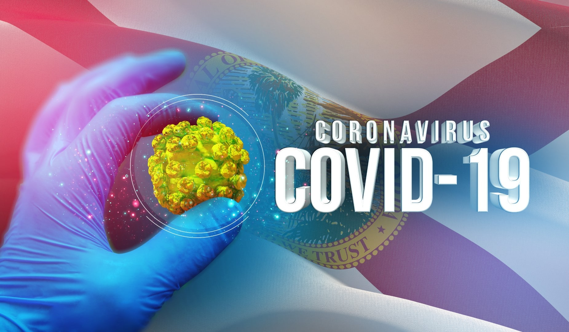 Coronavirus COVID-19 outbreak concept, background with flags of the states of USA. State of Florida flag. Pandemic stop Novel Coronavirus outbreak covid-19 3D illustration.