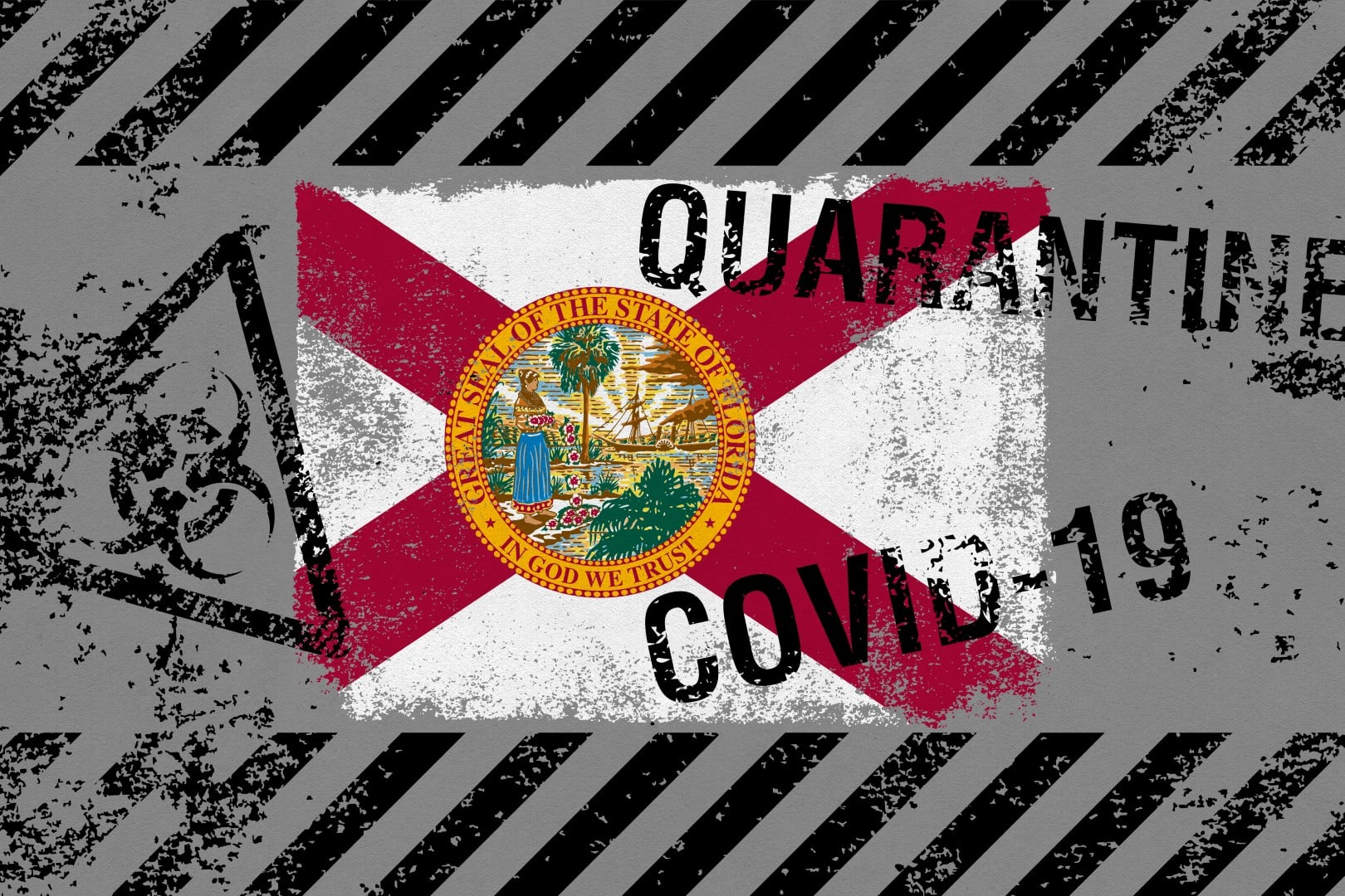 Flag of the state of Florida on grunge background with COVID-19 and QUARANTINE symbols on it. Novel Coronavirus (2019-nCoV) concept, for an outbreak occurs in Florida, US.