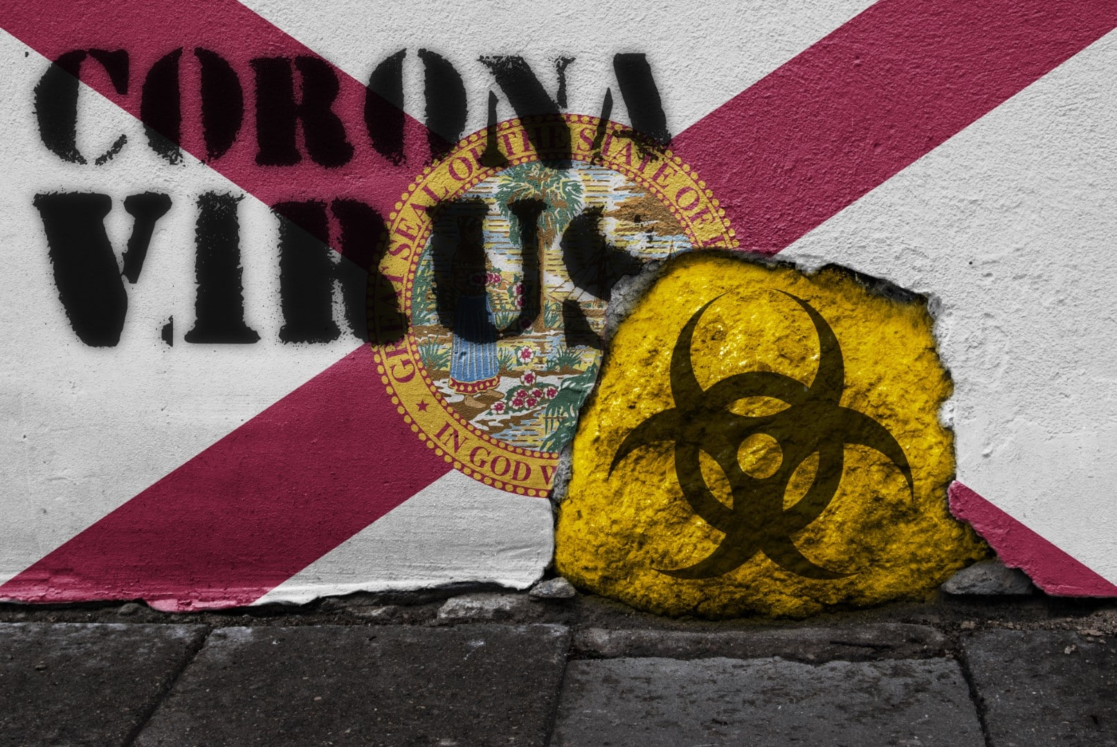 Flag of the state of Florida on the wall with covid-19 quarantine symbol on it. 2019 - 2020 Novel Coronavirus (2019-nCoV) concept, for an outbreak occurs in Florida, US.