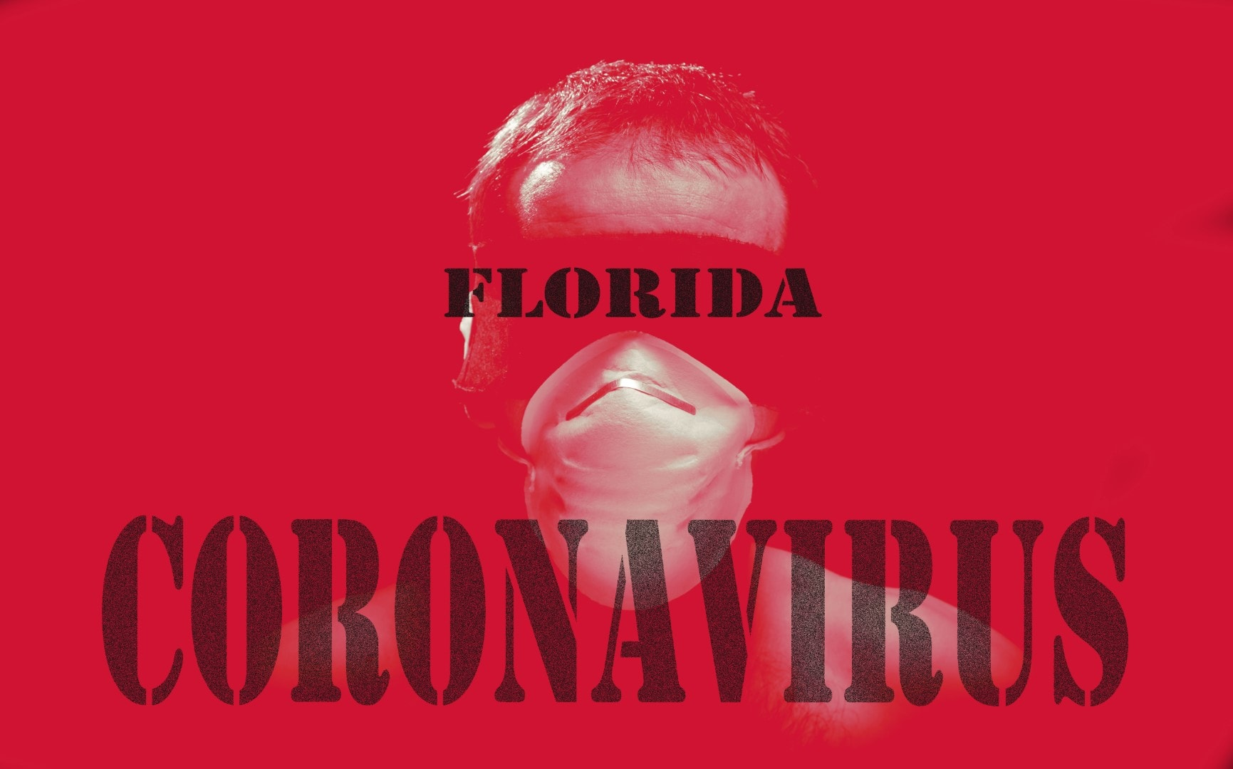 florida coronavirus red sign or letter with a man head wearing blindfold and surgical mask as an alert the virus