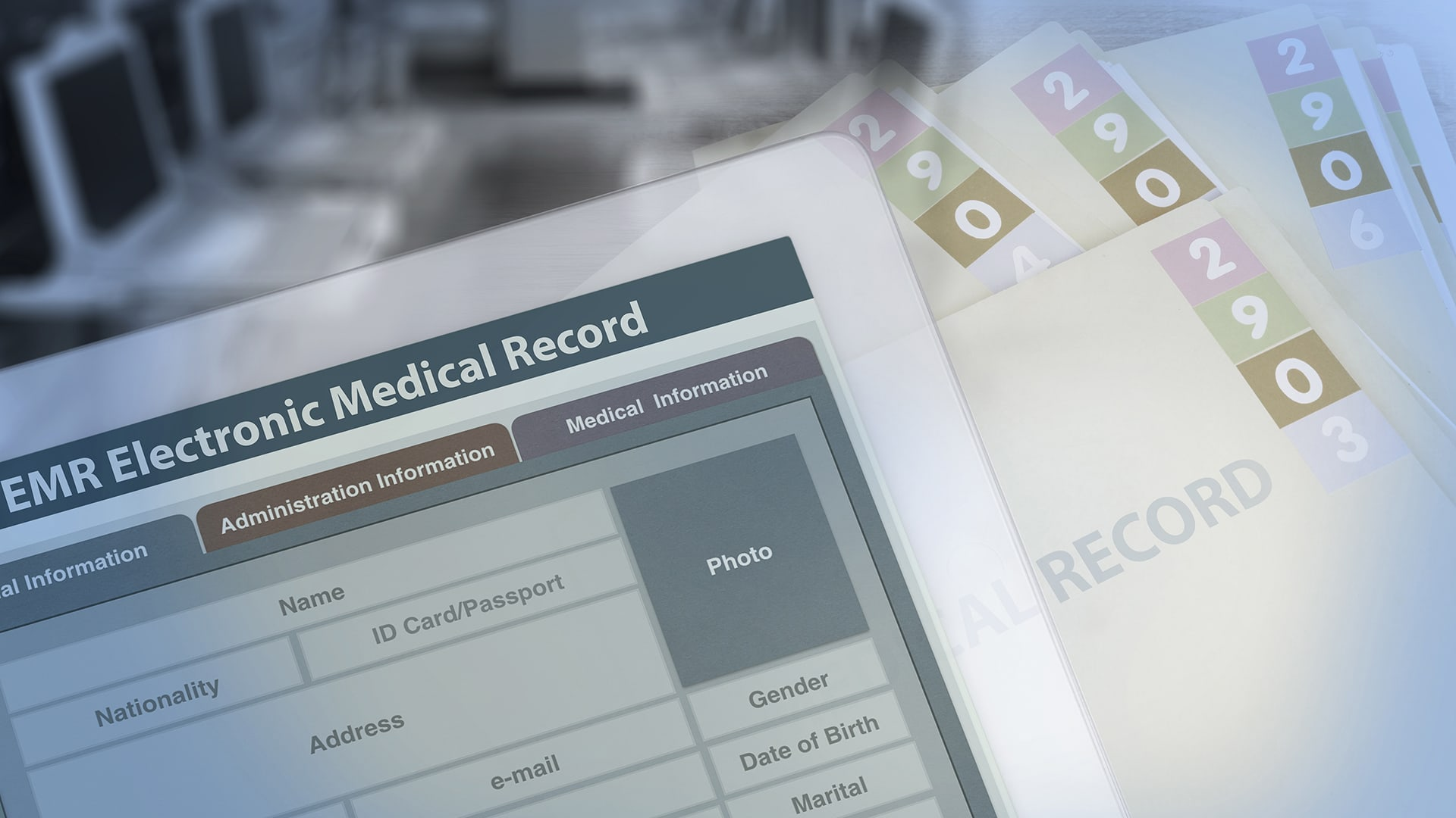Background photo showing medical record changing from paperwork to electronic medical record.