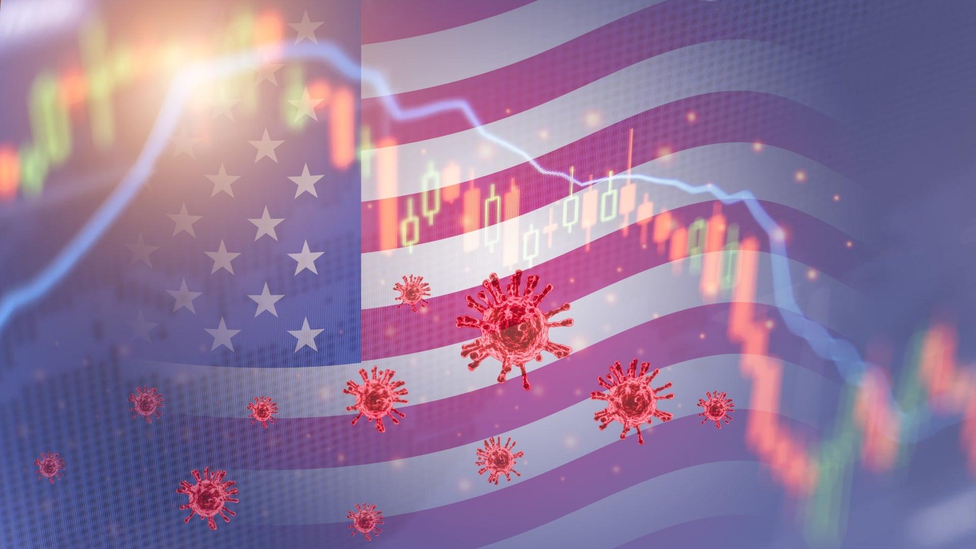 Coronavirus impact America economy stock markets financial crisis concept,The coronavirus or covid-19 sinks the America stock exchanges. Graphs representing the stock market crash caused