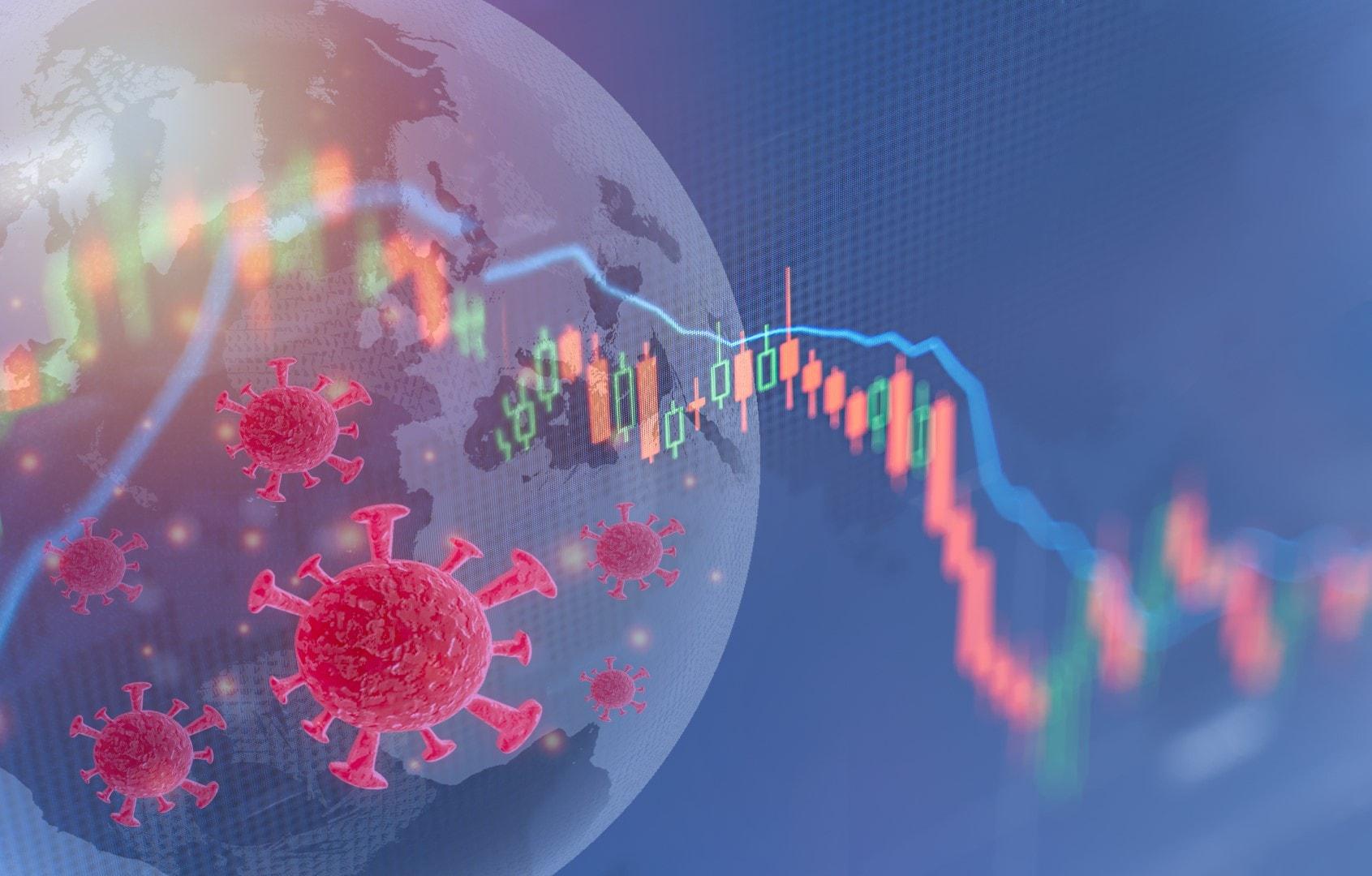 Coronavirus impact global economy stock markets financial crisis concept,The coronavirus or covid-19 sinks the global stock exchanges. Graphs representing the stock market crash caused by Coronavirus