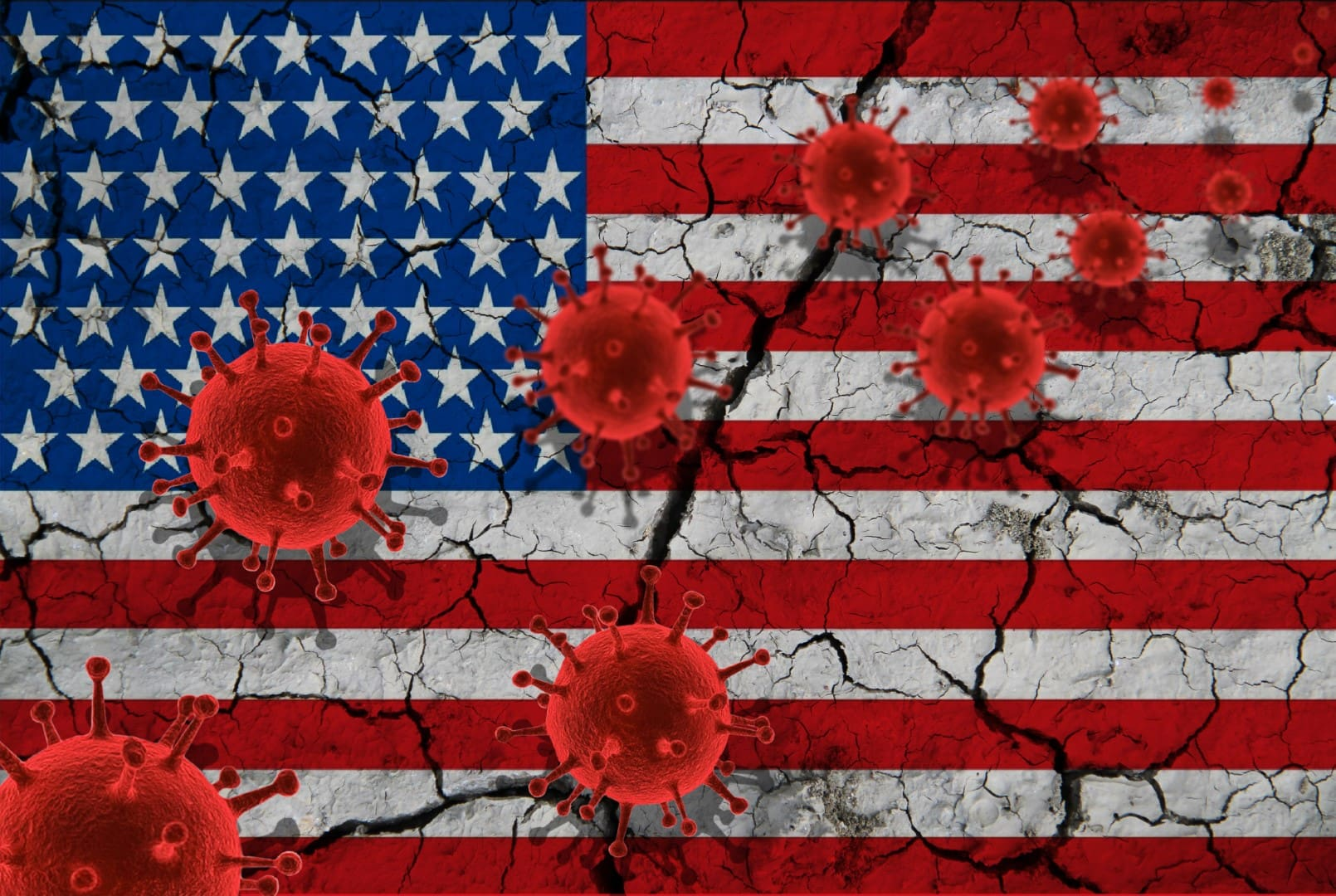 Red virus cells, pandemic influenza virus epidemic infection, coronavirus, Asian flu concept, against the background of a cracked US flag