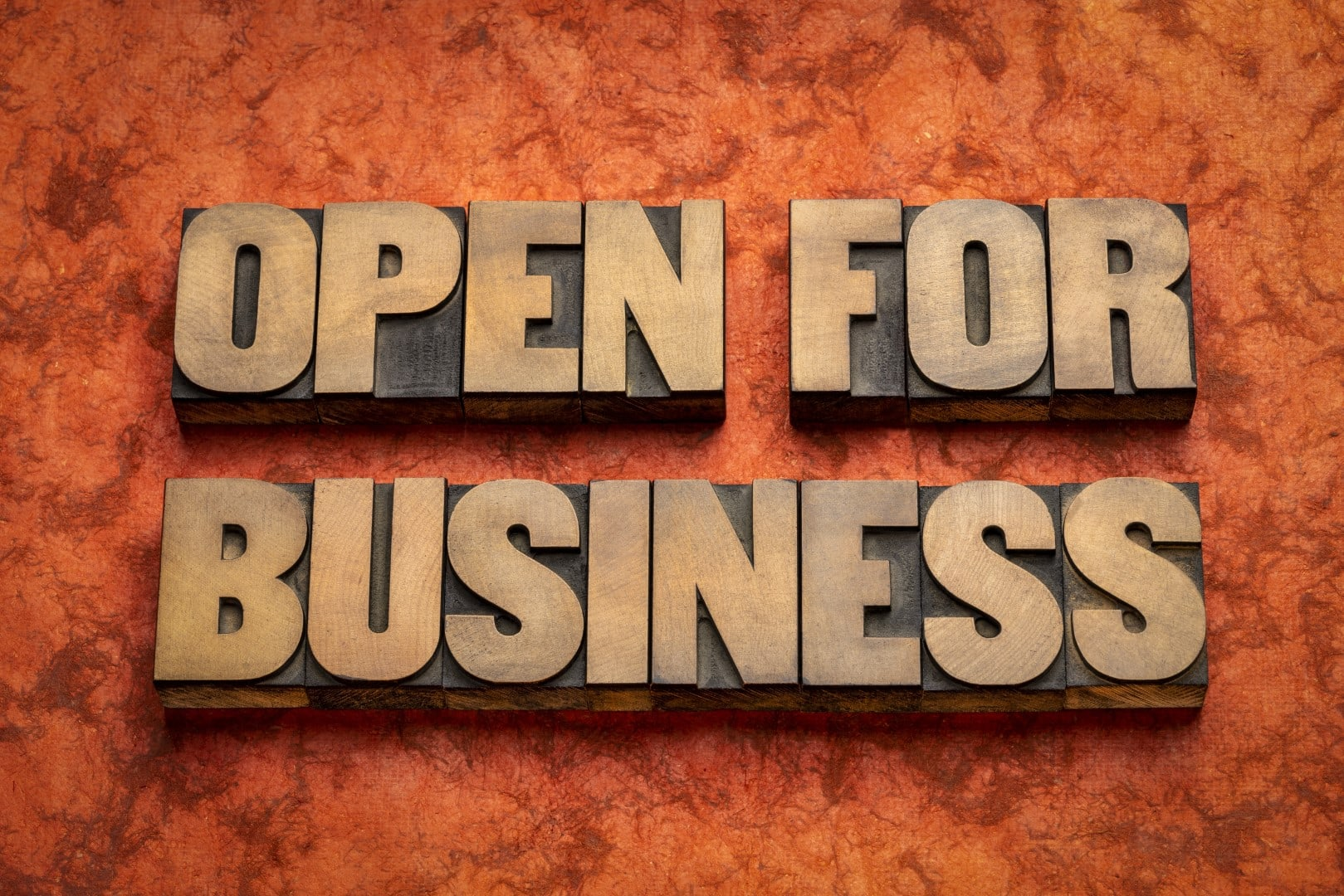 open for business word abstract in wood type