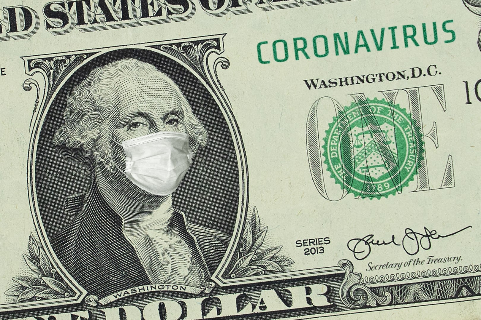 US President Washington in a medical mask.