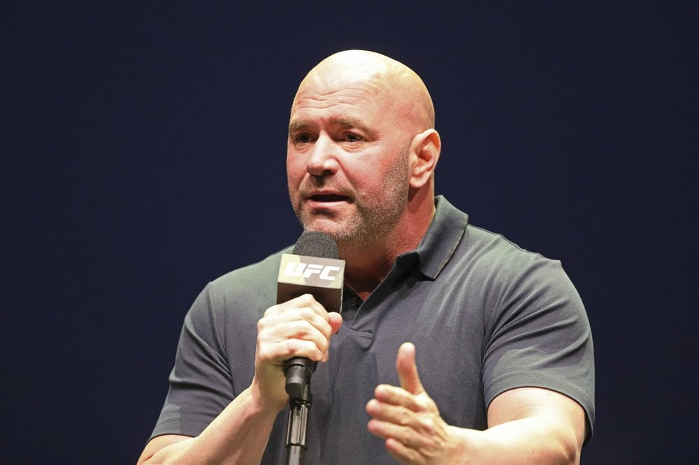 FILE - In this Sept. 19, 2019, file photo, UFC President Dana White speaks at a news conference in New York. UFC 249 has been canceled after ESPN and parent company Disney stopped White's plan to keep fighting amid the coronavirus pandemic. After defiantly vowing for weeks to maintain a regular schedule of fights, White announced the decision to cease competition Thursday, April 9, on ESPN, the UFC's broadcast partner. (AP Photo/Gregory Payan, File)