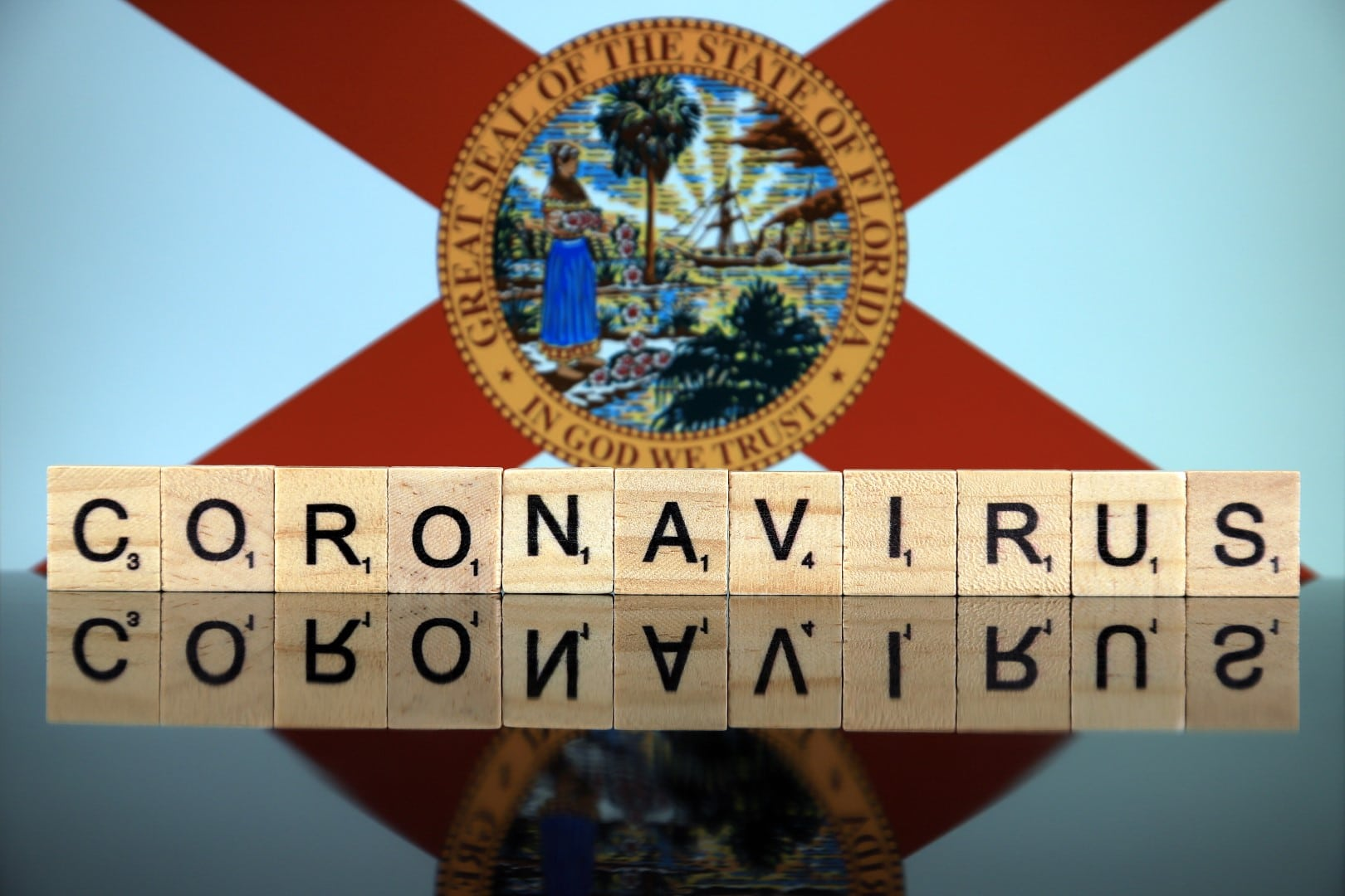 WROCLAW, POLAND - MARCH 28, 2020: Word CORONAVIRUS made of wooden letters, and Florida State Flag in the background. Coronavirus (COVID-19) global disease 2020.