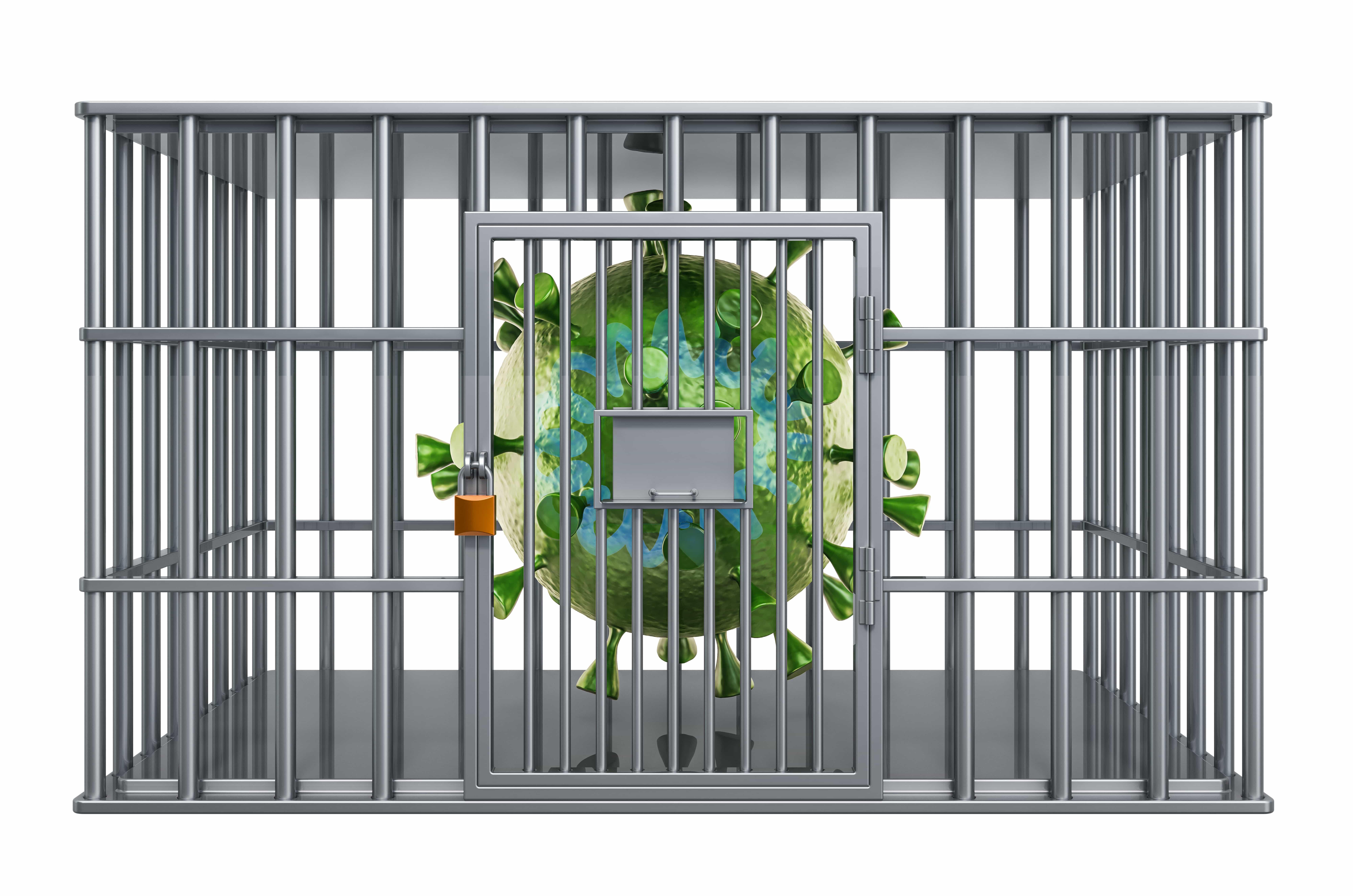 Coronavirus inside jail cell, quarantine concept. 3D rendering