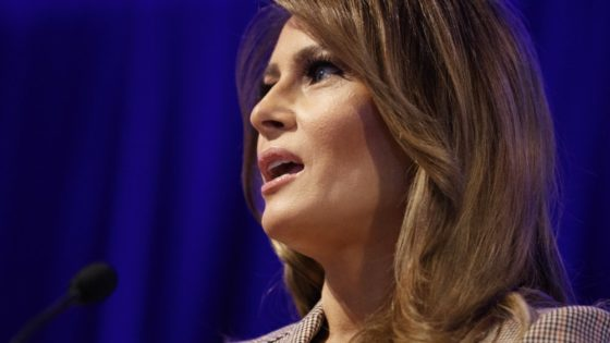 FILE - In this March 10, 2020, file photo first lady Melania Trump speaks at the at the National PTA Legislative Conference in Alexandria, Va. (AP Photo/Carolyn Kaster, File)