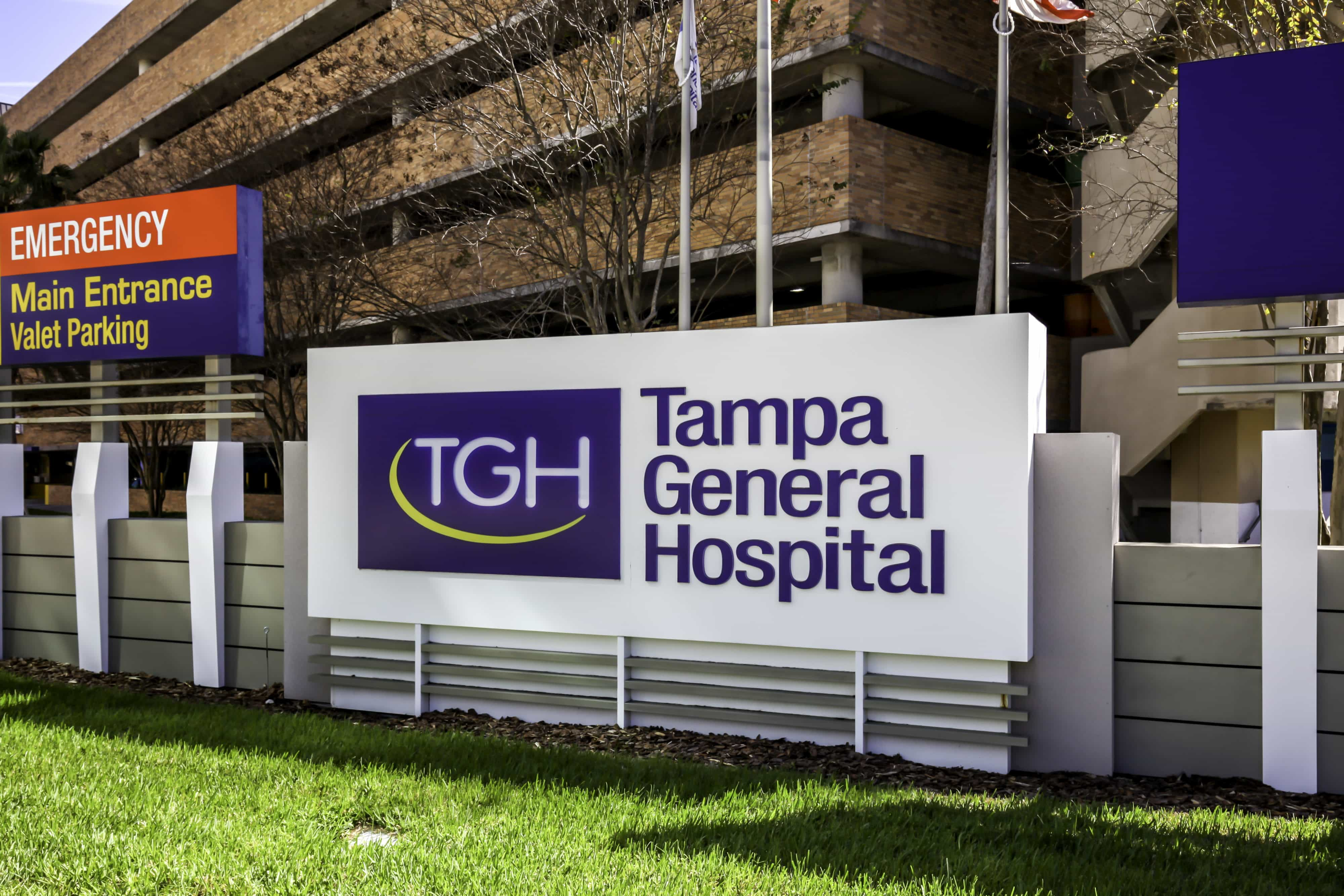 Tampa, Florida, USA- February 23, 2020:  Sign of Tampa General Hospital in Florida, USA.