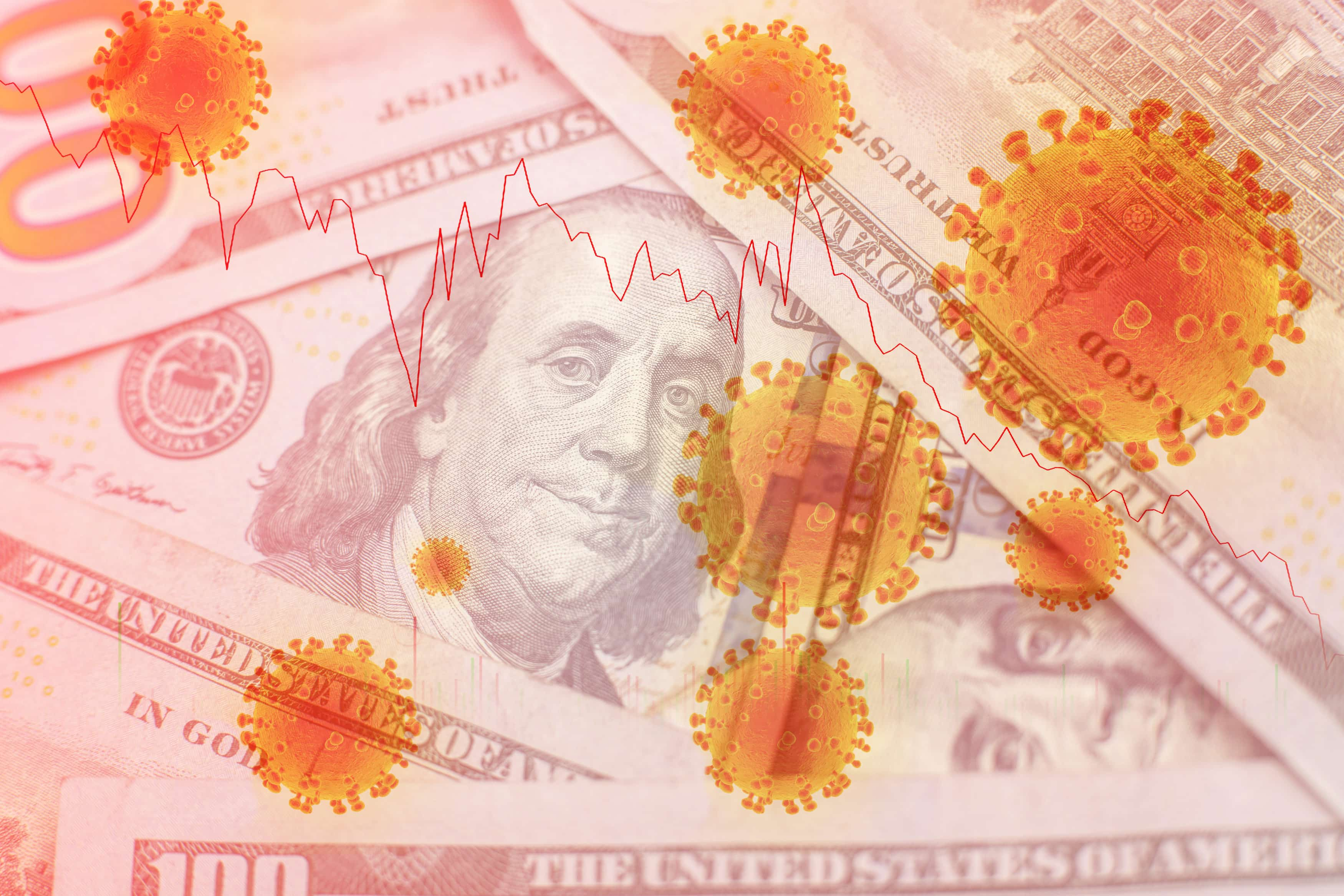 COVID-19 coronavirus in USA, 100 dollar money bill with coronavirus . COVID-19 affects global stock market. World economy hit by corona virus outbreak and pandemic fears. Crisis and finance concept